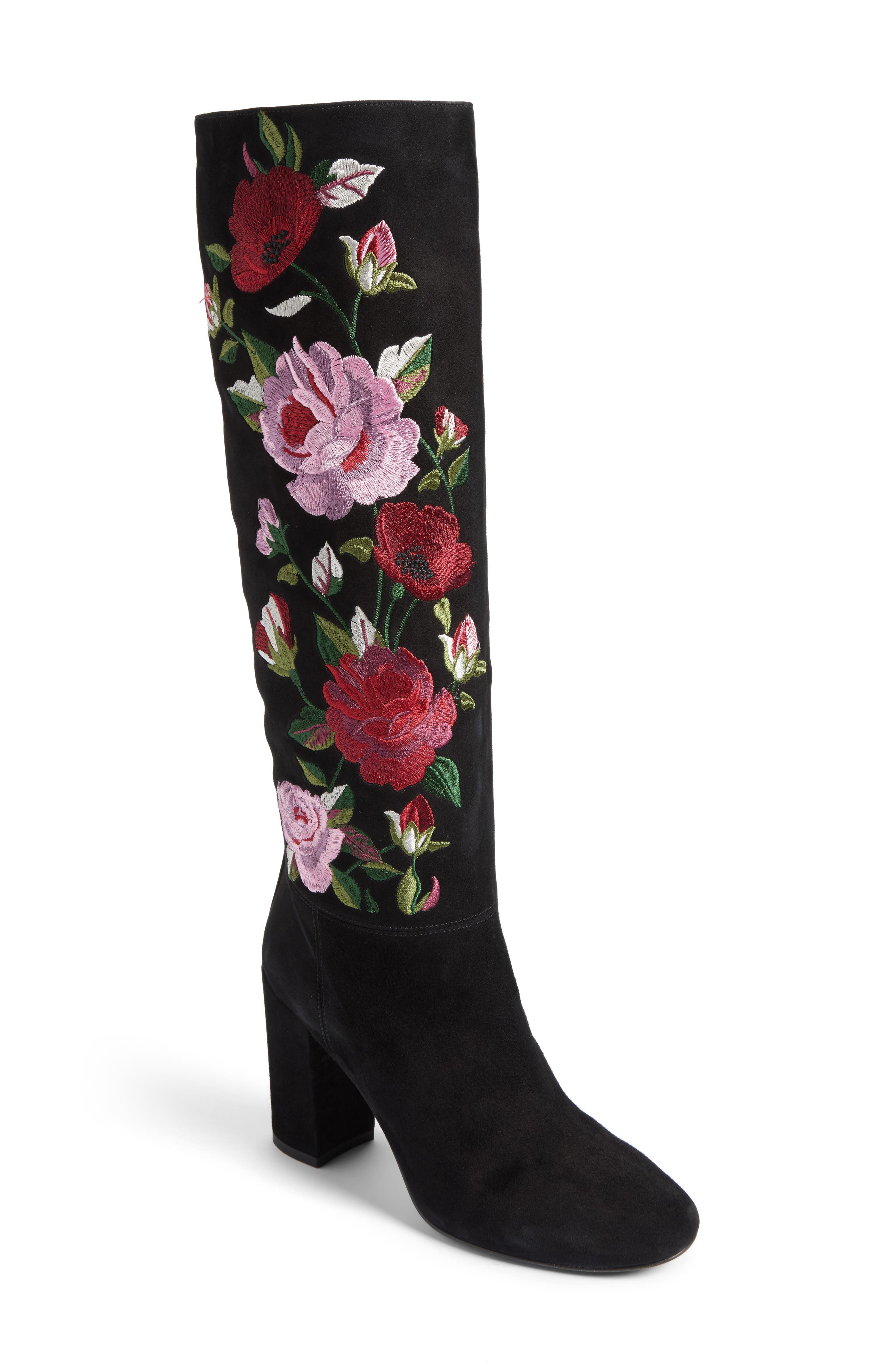 greenfield flower embroidered boot,                         Main,                         color, Black Suede