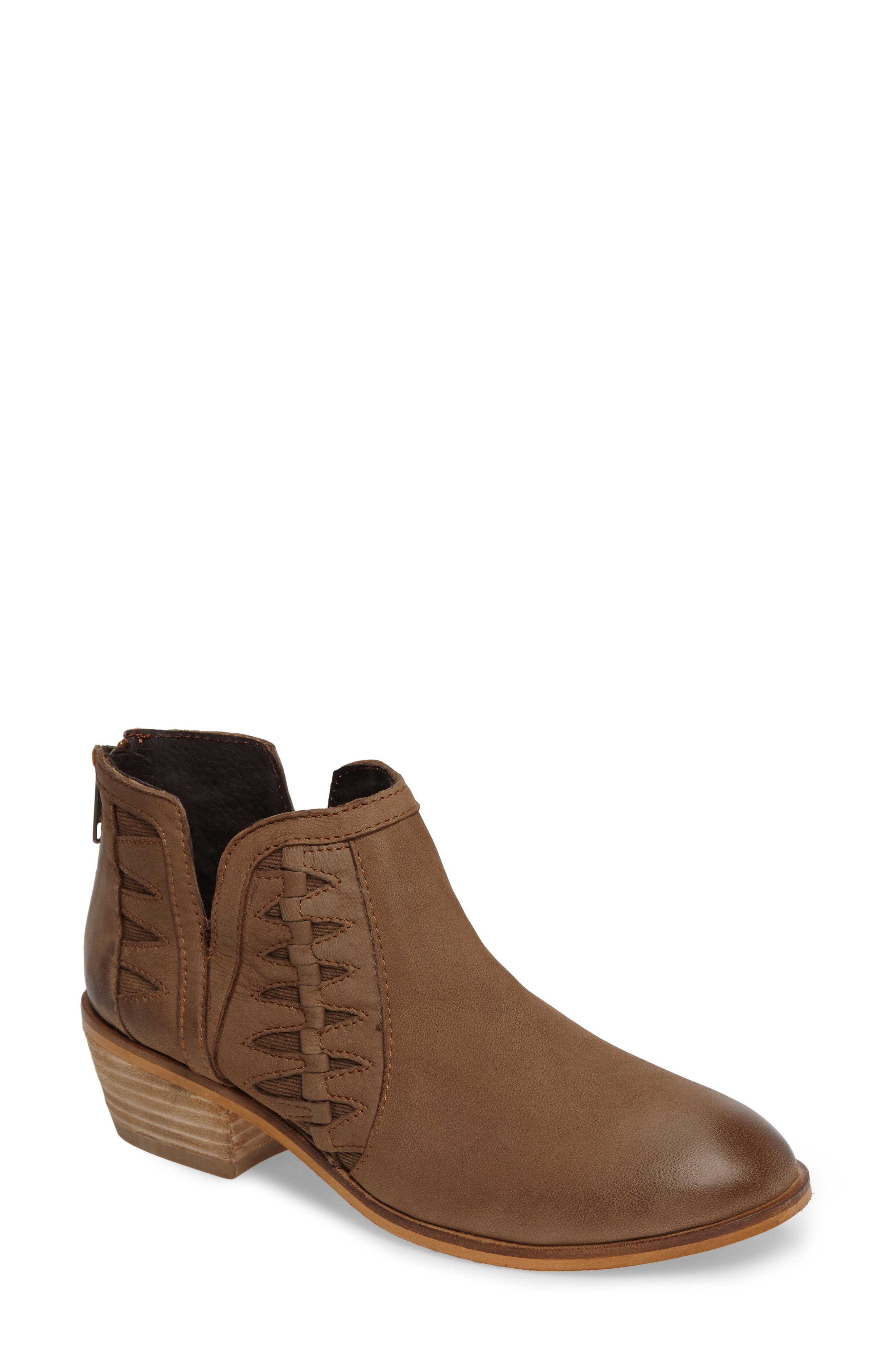 Yuma Bootie,                             Main thumbnail 1, color,                             Cognac Washed Nubuck Leather