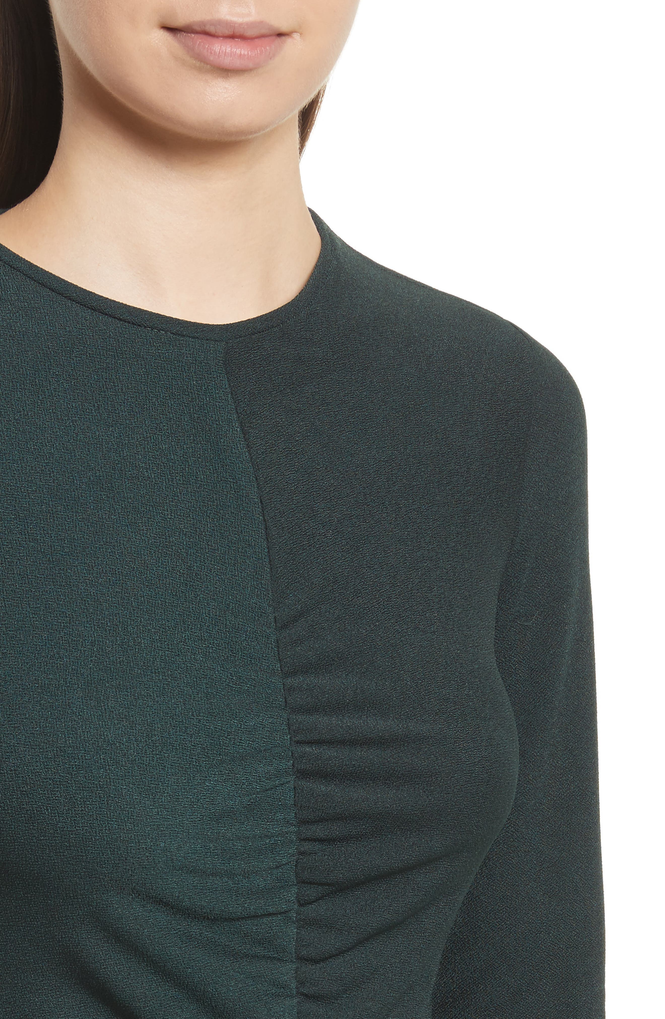 Ruched Crepe Knit Tee,                             Alternate thumbnail 4, color,                             Spruce