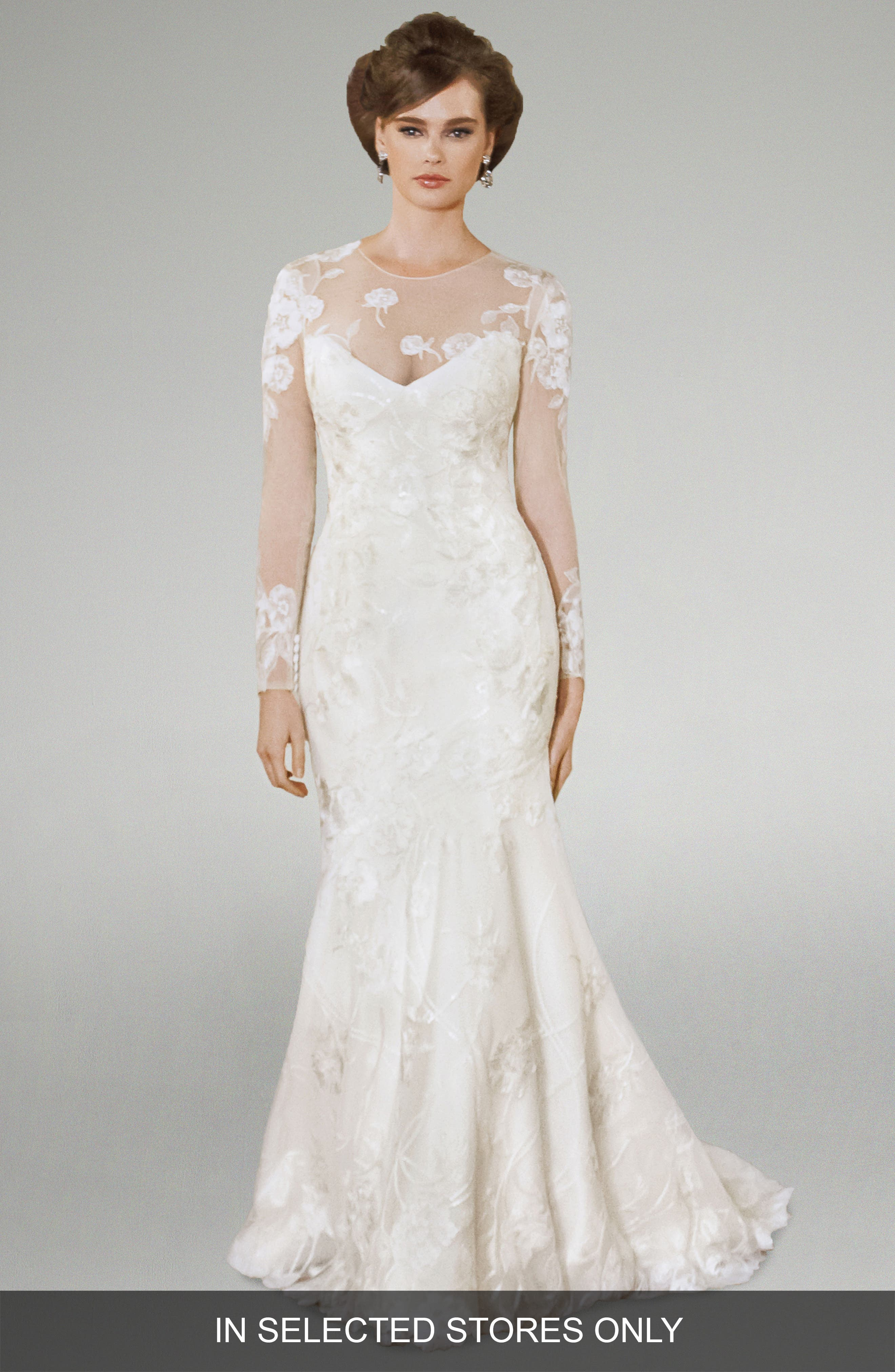 Matthew Christopher Kelli Illusion Lace Silk Trumpet Gown (In Stores Only)