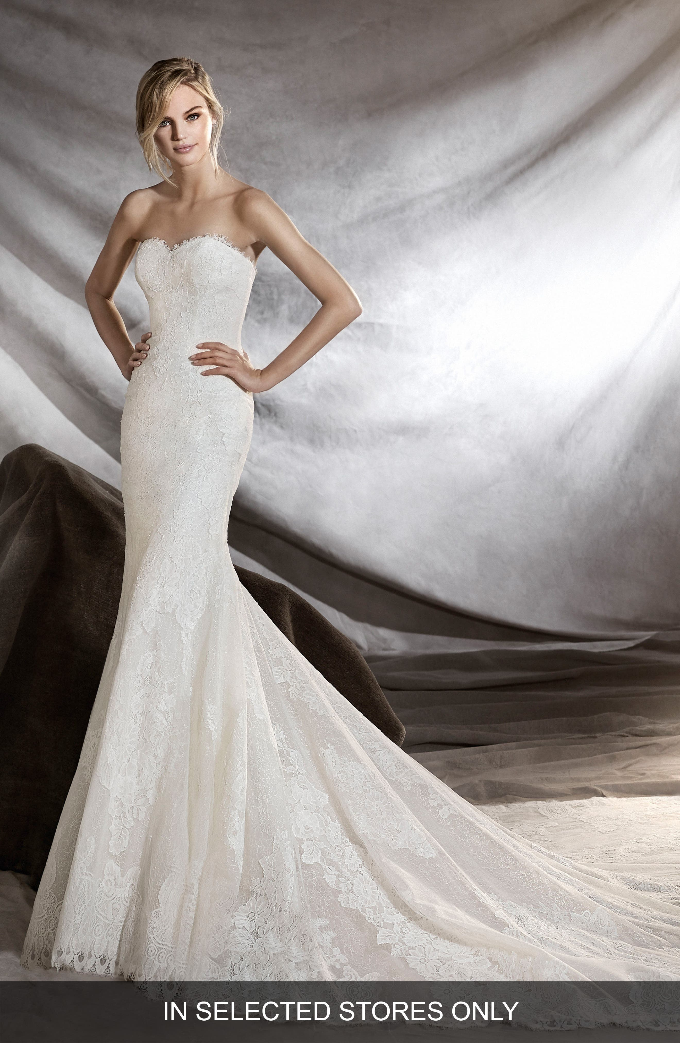 Orilla Strapless Lace Tulle Mermaid Gown,                             Main thumbnail 1, color,                             Off White
