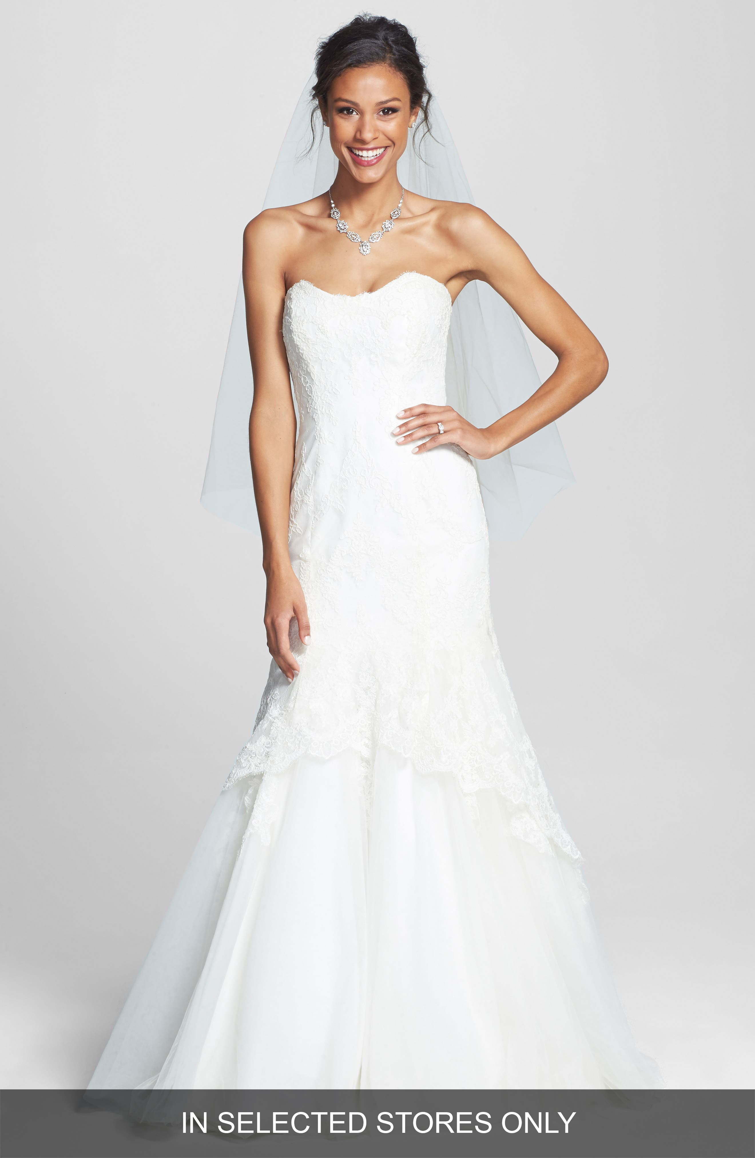Alternate Image 1 Selected - BLISS Monique Lhuillier Lace Overlay Tulle Trumpet Wedding Dress