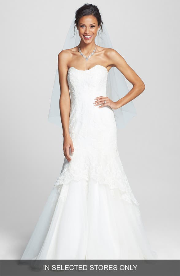 Main Image Bliss Monique Lhuillier Lace Overlay Tulle Trumpet Wedding Dress