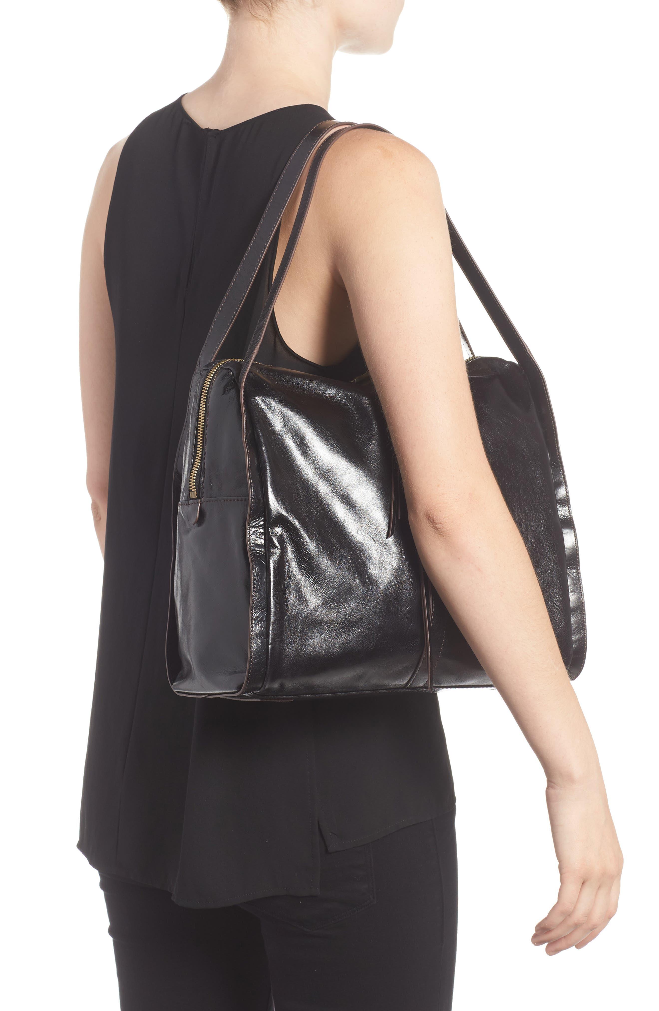 Century Leather Shopper,                             Alternate thumbnail 2, color,                             Black