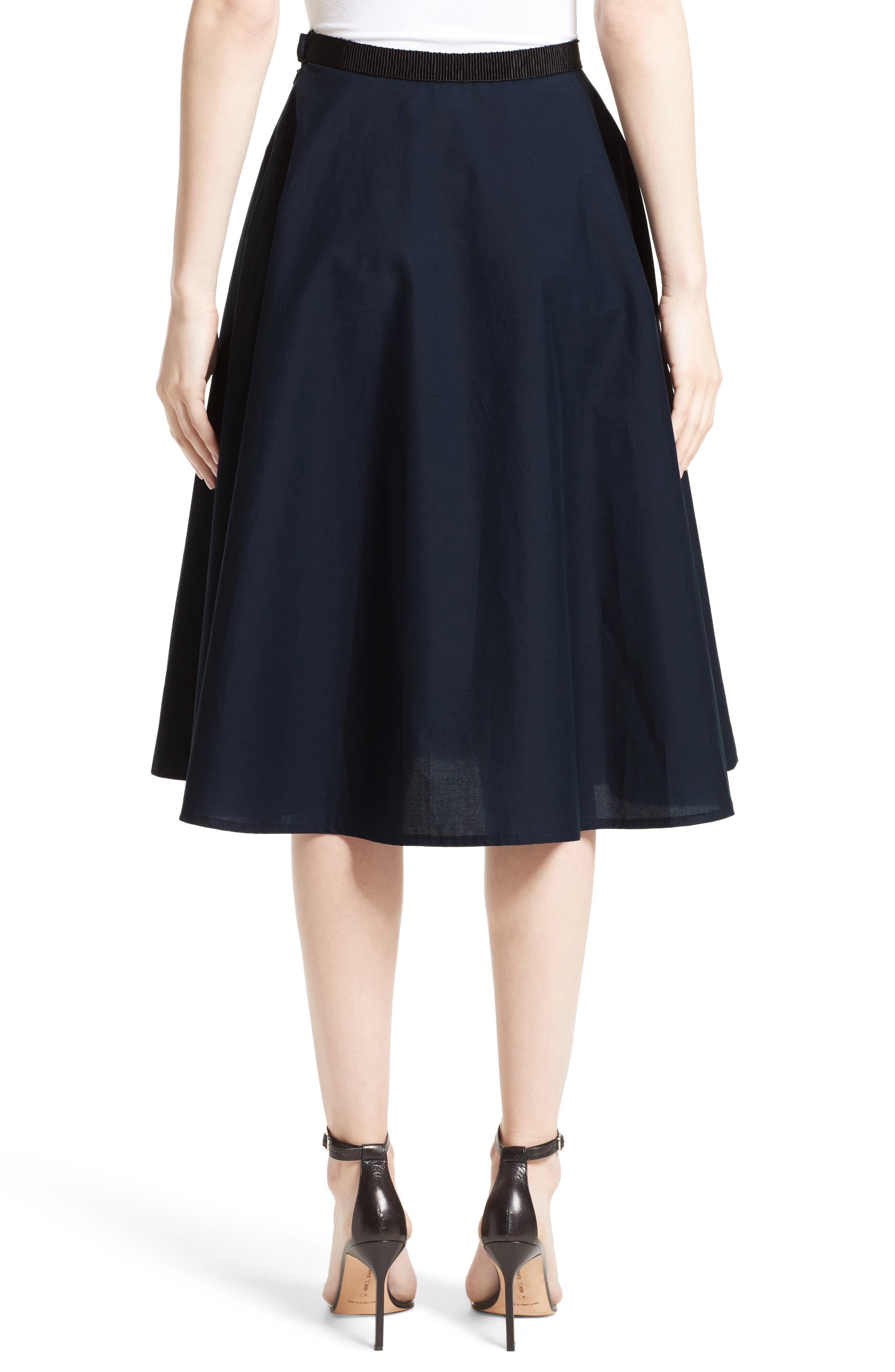 Ruffle Cotton A-Line Skirt,                             Alternate thumbnail 2, color,                             Navy