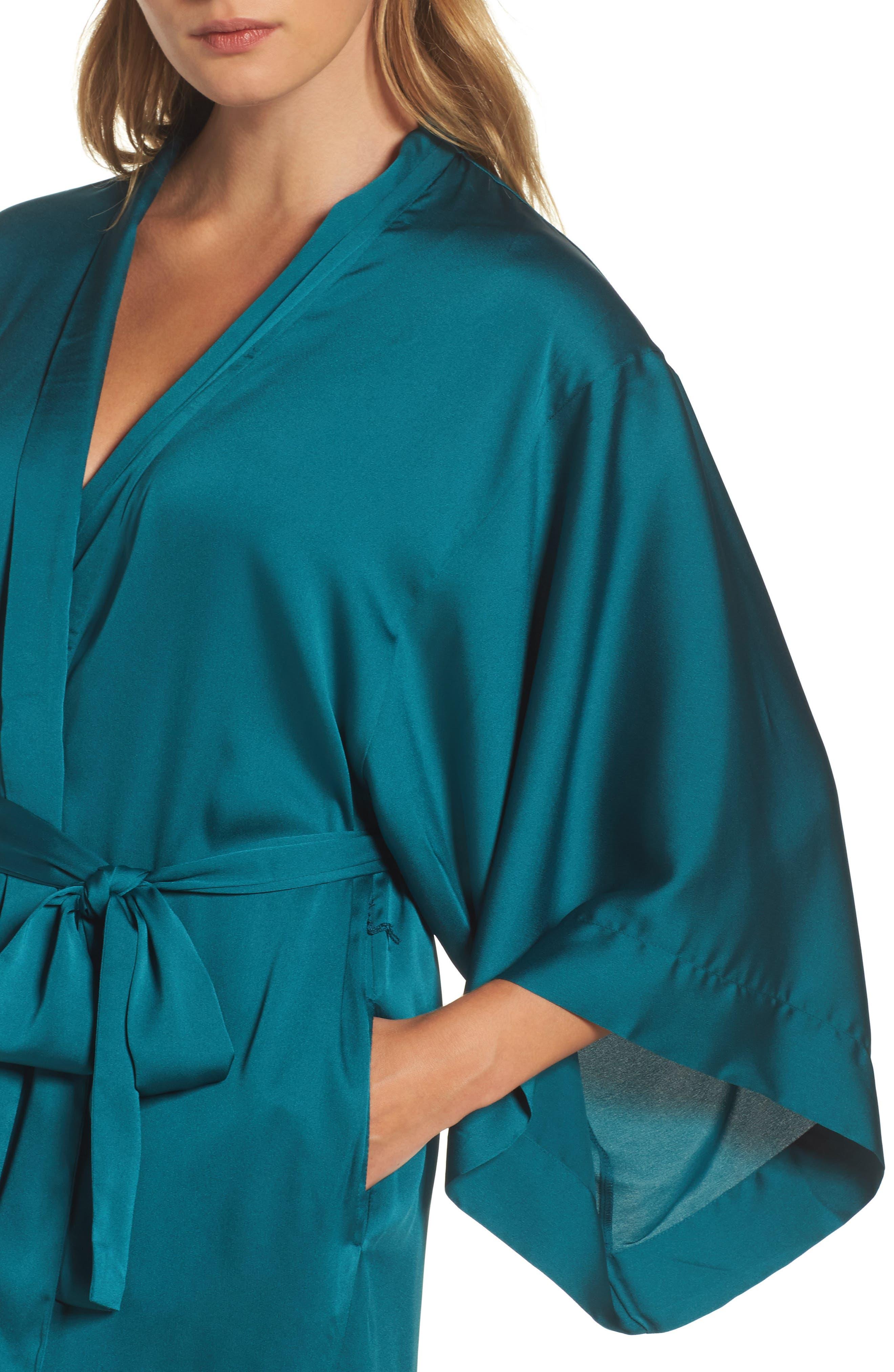 Feathers Satin Wrap,                             Alternate thumbnail 5, color,                             Blue Green