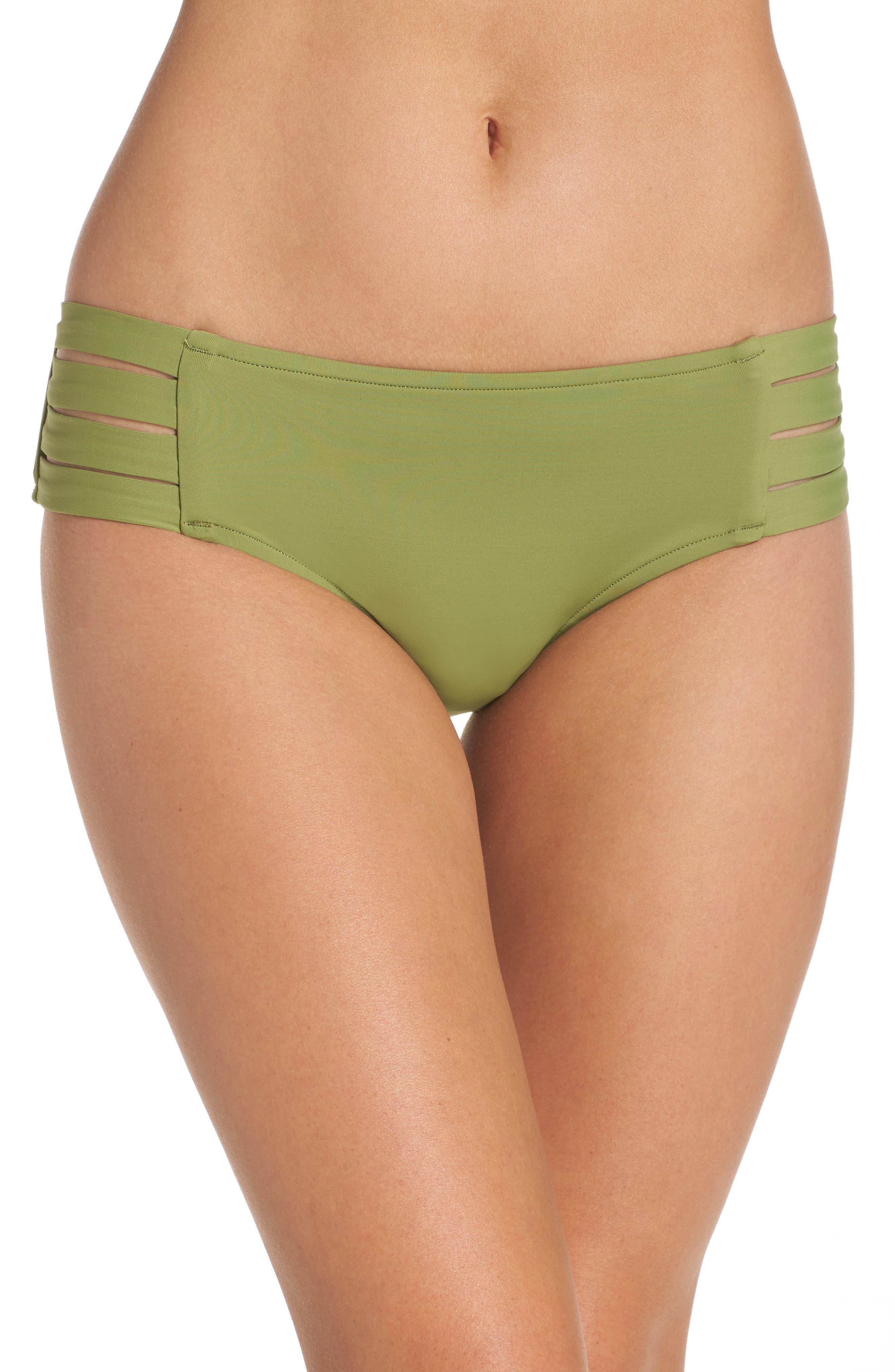 Strappy Hipster Bikini Bottoms,                         Main,                         color, Moss
