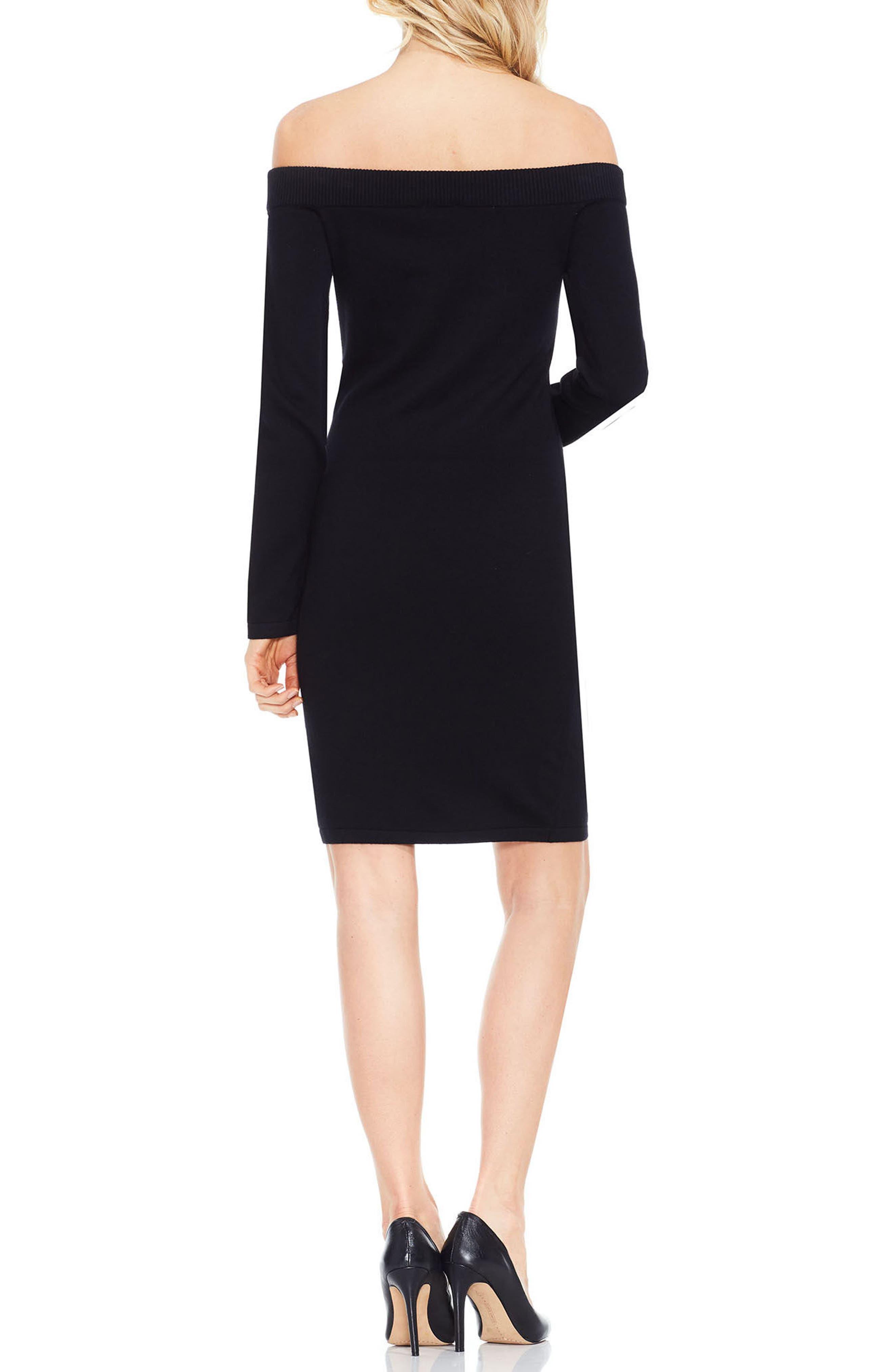 Off the Shoulder Sweater Dress,                             Alternate thumbnail 2, color,                             Rich Black