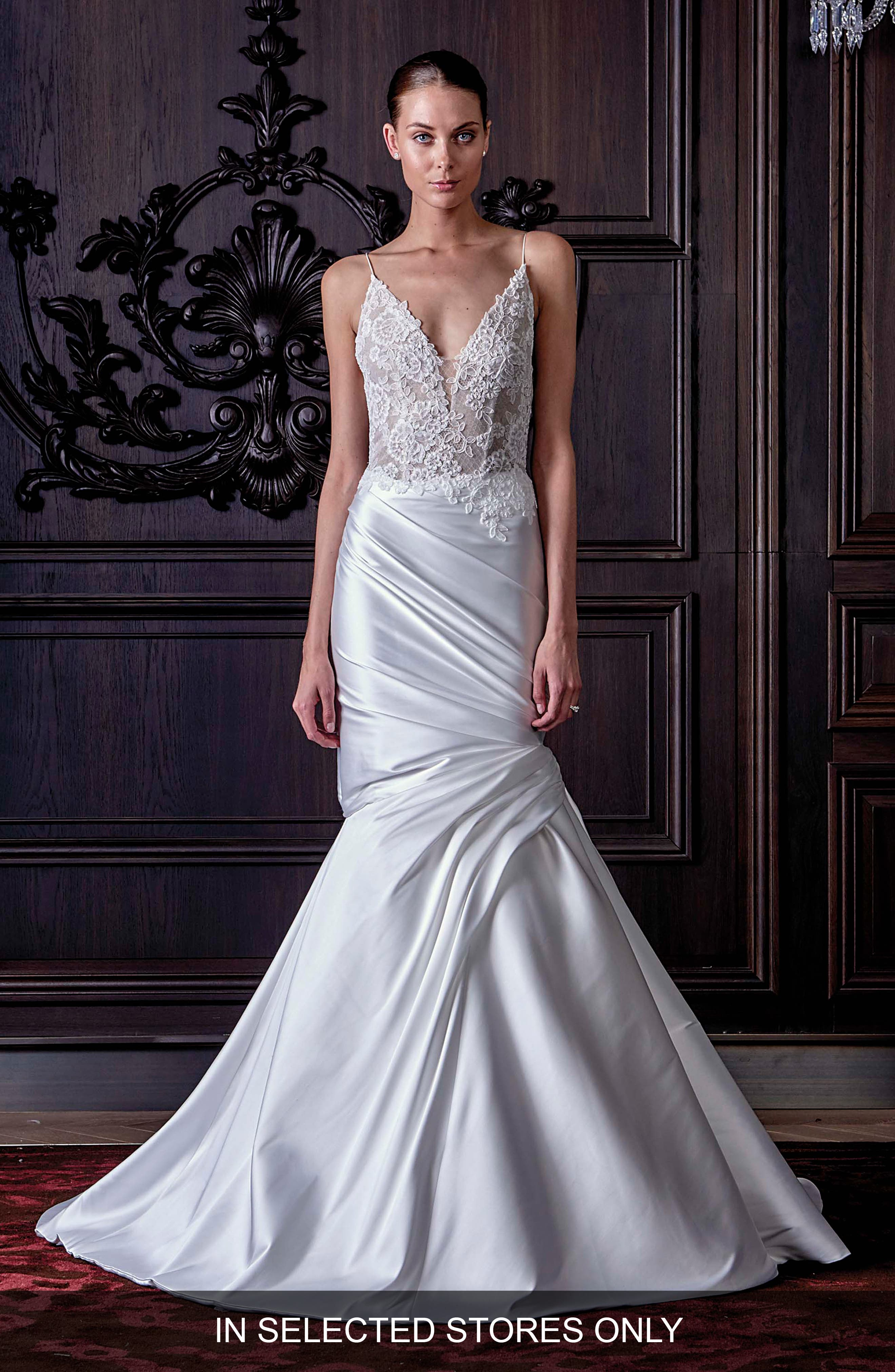 Hadley Chantilly Lace & Mikado Trumpet Gown in Silk White/ Nude