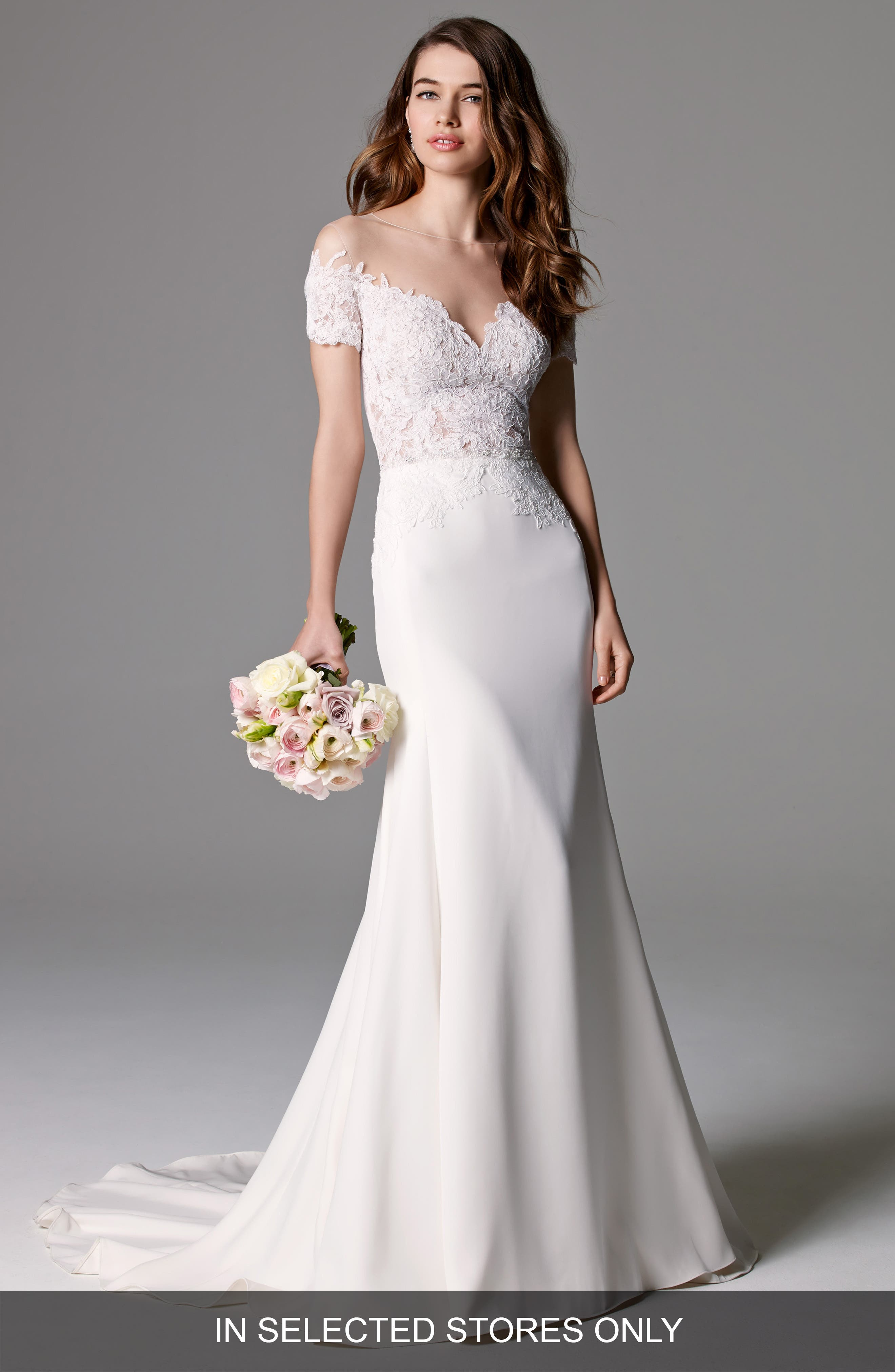 Seaton Illusion Off-the-Shoulder Lace & Georgette Trumpet Gown,                         Main,                         color, Ivory
