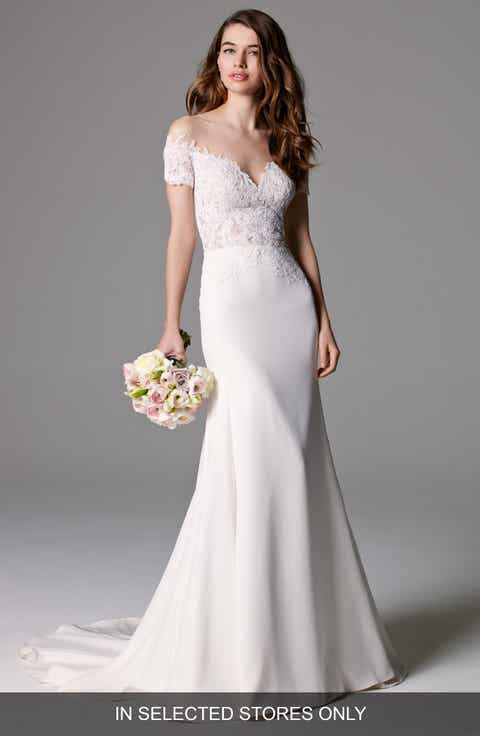 Watters  Seaton  Illusion Off the Shoulder Lace   Georgette Trumpet Gown  Watters Wedding Dresses   Nordstrom   Nordstrom. Off The Rack Wedding Dresses Nyc. Home Design Ideas