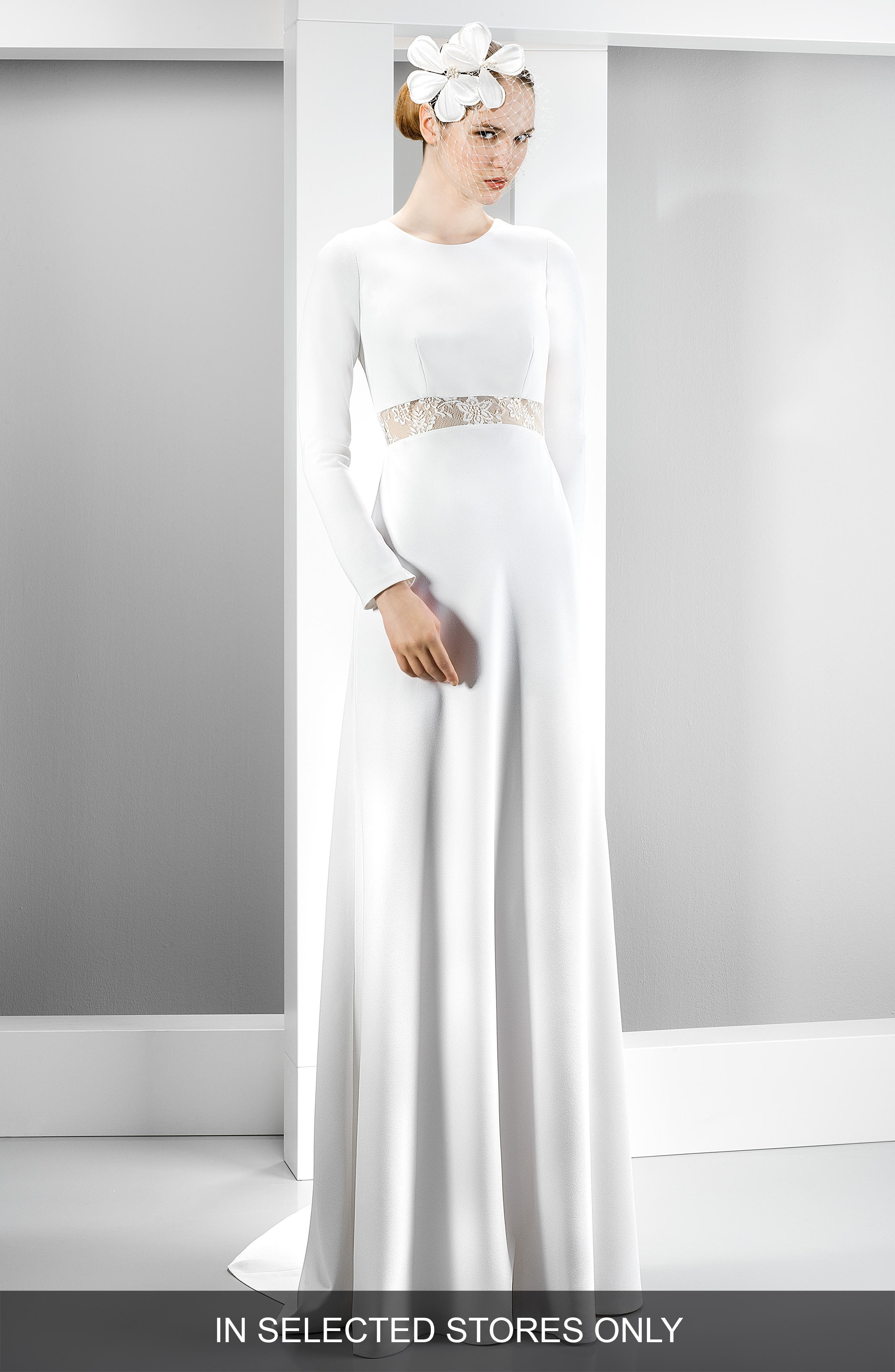 Illusion Lace Inset Long Sleeve Crepe Gown,                         Main,                         color, Ivory