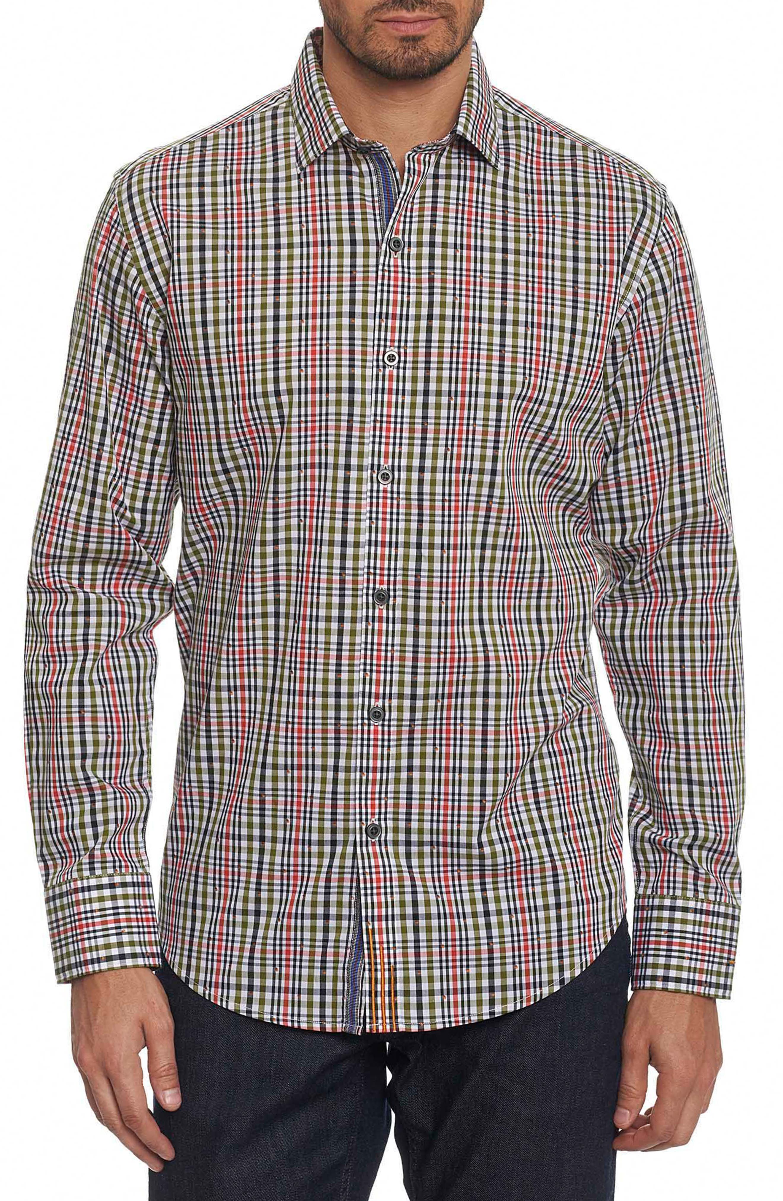 Cape Vincent Classic Fit Dobby Check Sport Shirt,                         Main,                         color, Olive