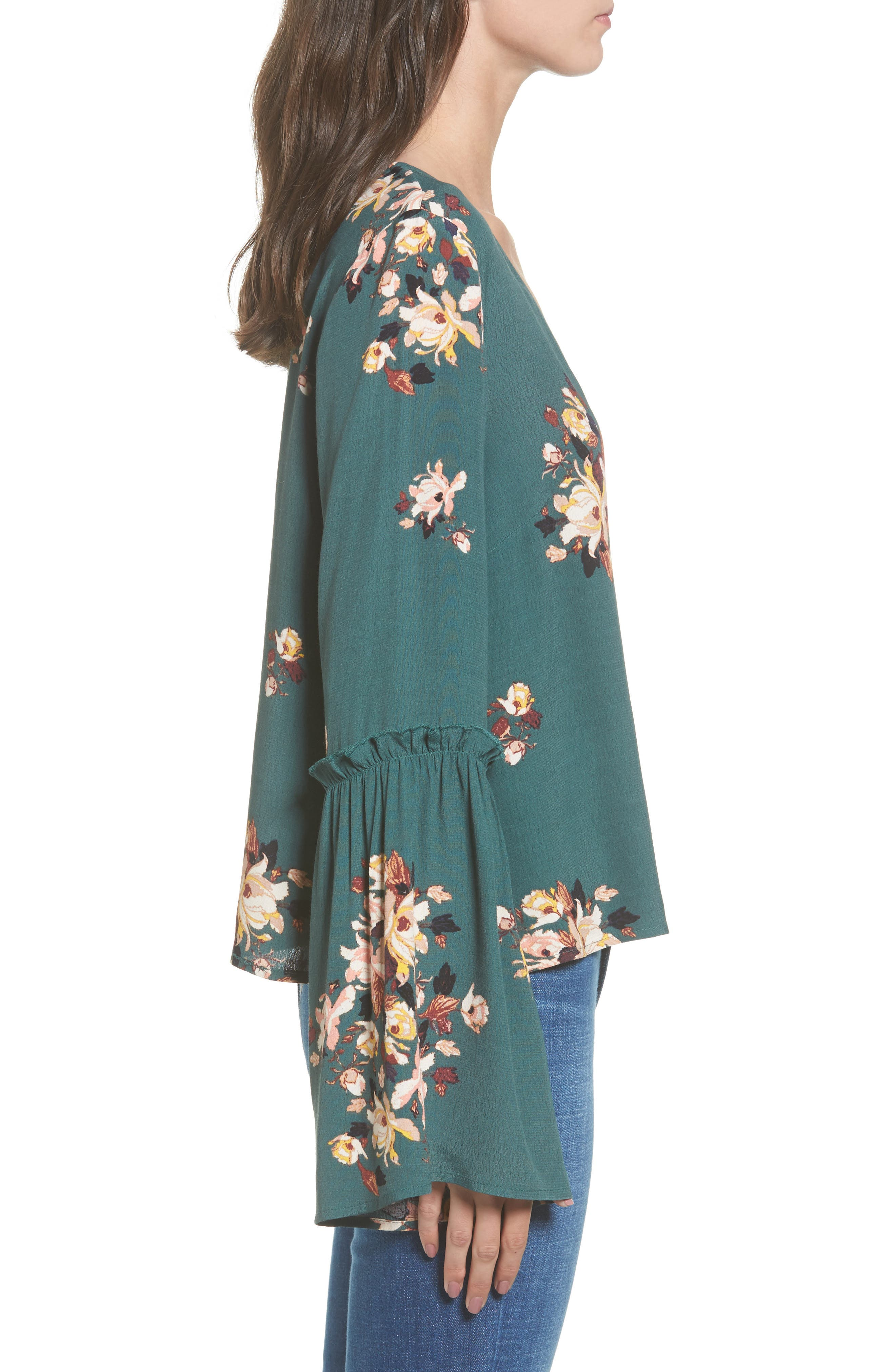 Bell Sleeve Blouse,                             Alternate thumbnail 3, color,                             Green Jungle Floral Bouquet