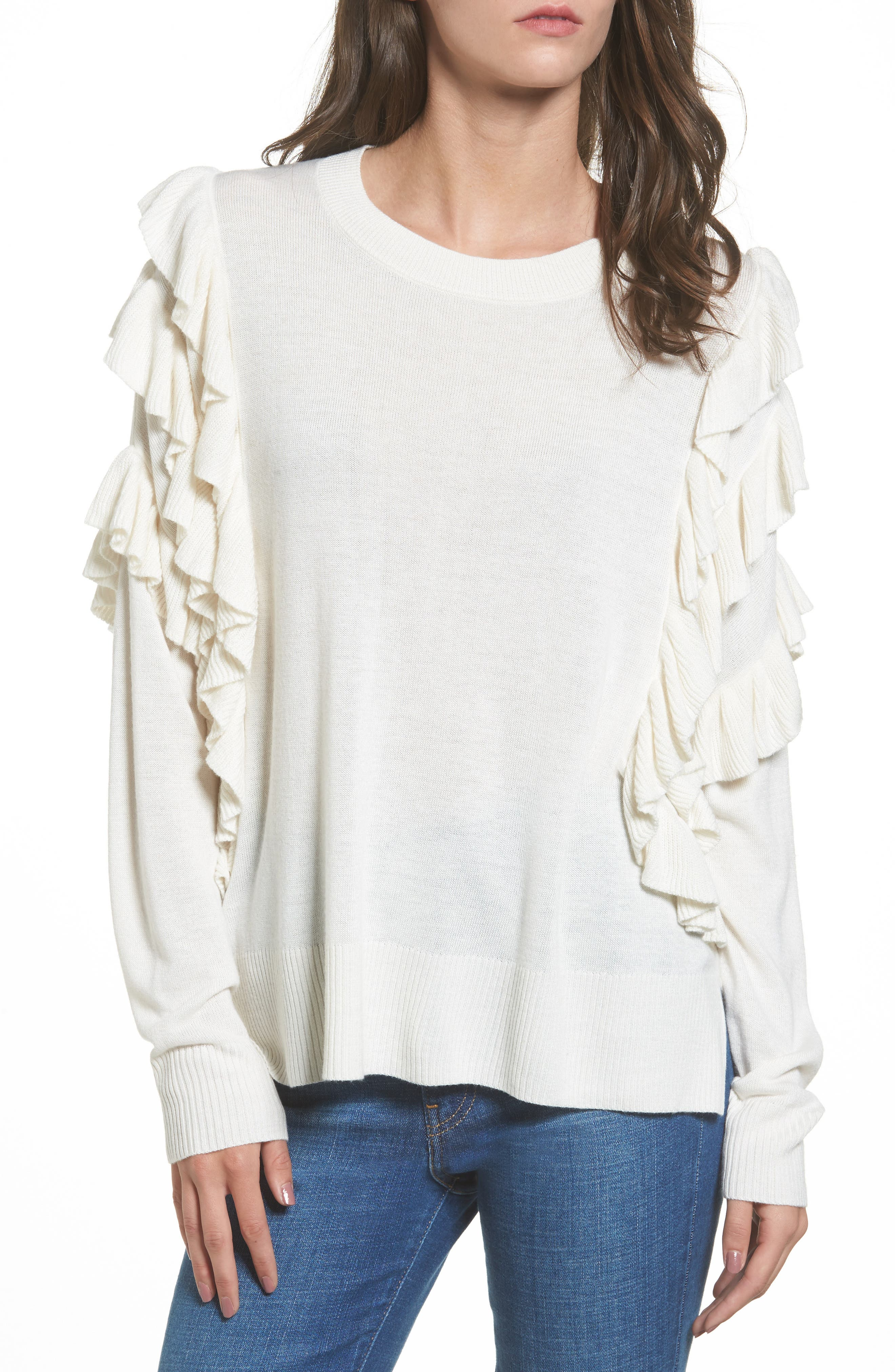 Ruffle Pullover,                         Main,                         color, Ivory Egret