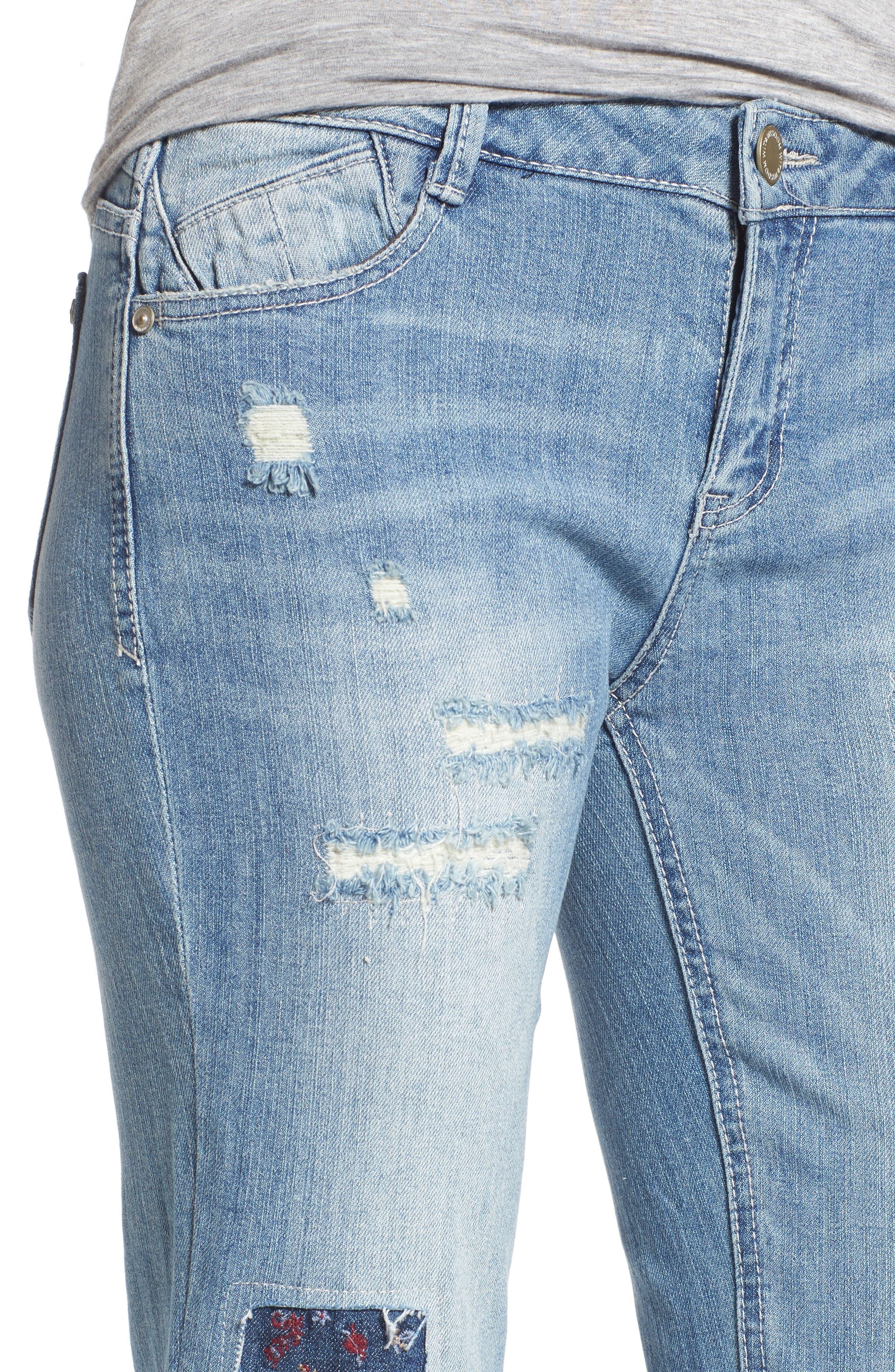 Ripped Girlfriend Jeans,                             Alternate thumbnail 4, color,                             Light Blue
