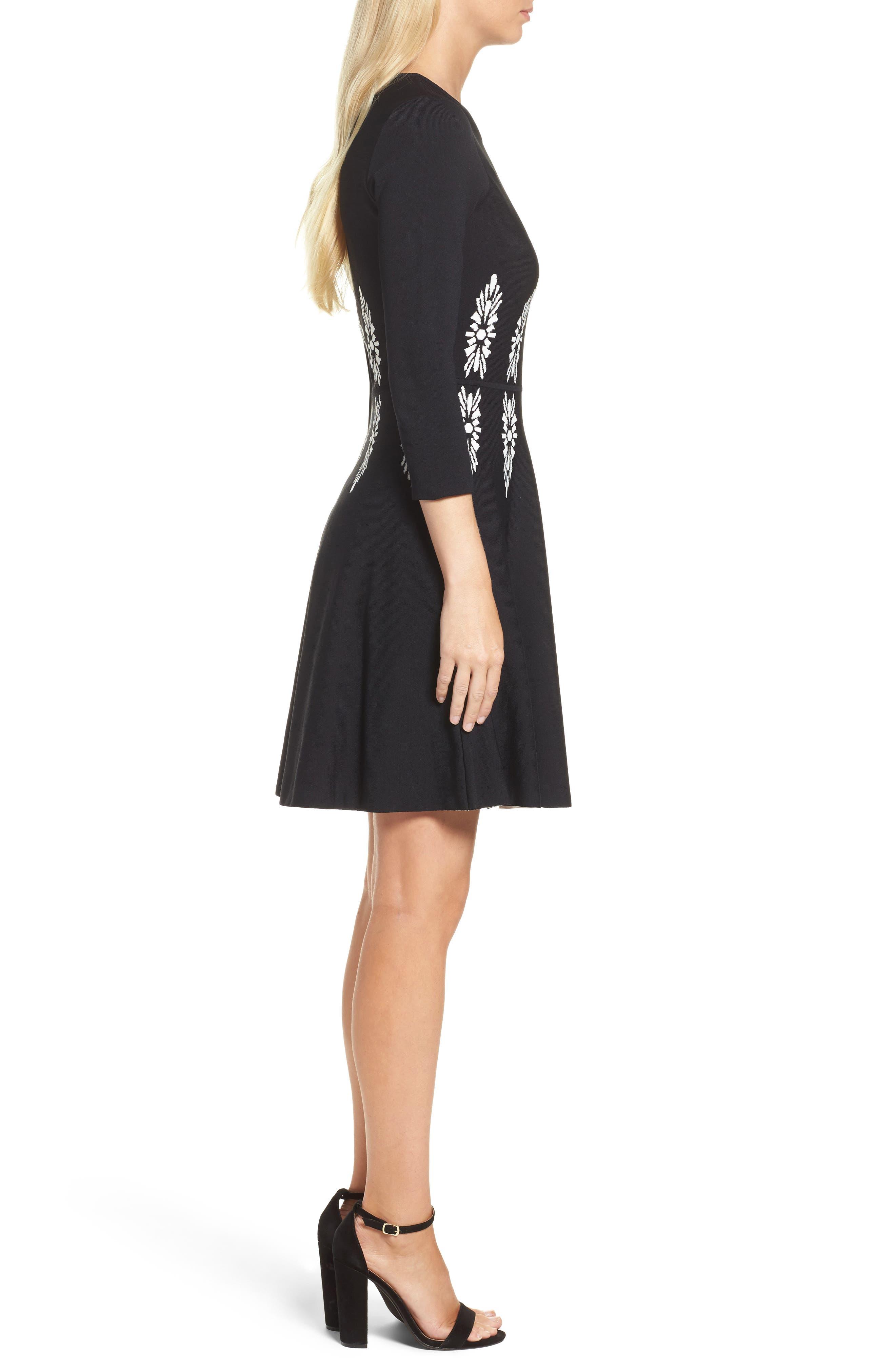 Alternate Image 3  - Eliza J Three-Quarter Sleeve Fit & Flare Dress