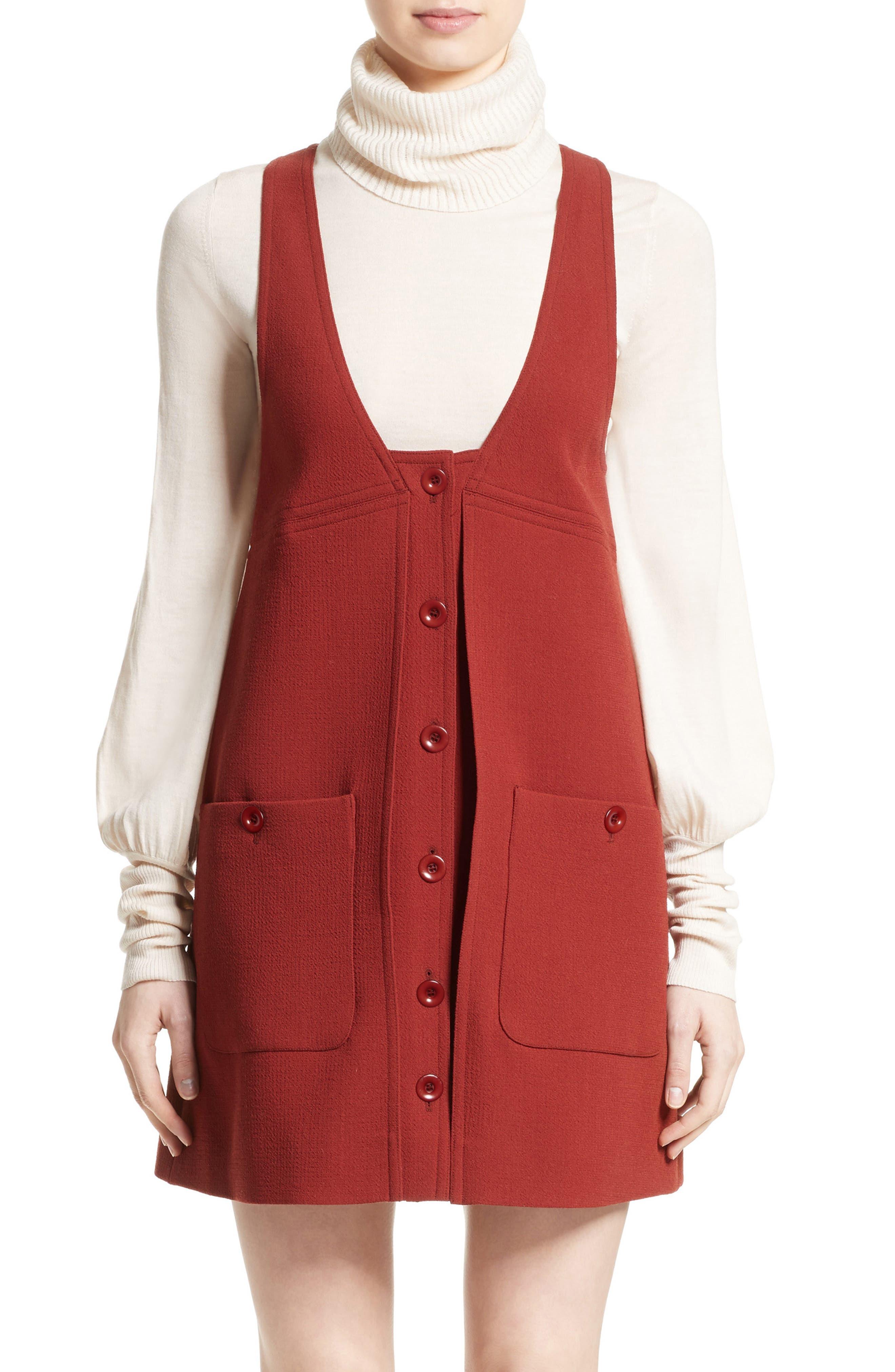 Wool Crepe Jumper Dress,                         Main,                         color, Ginger Red