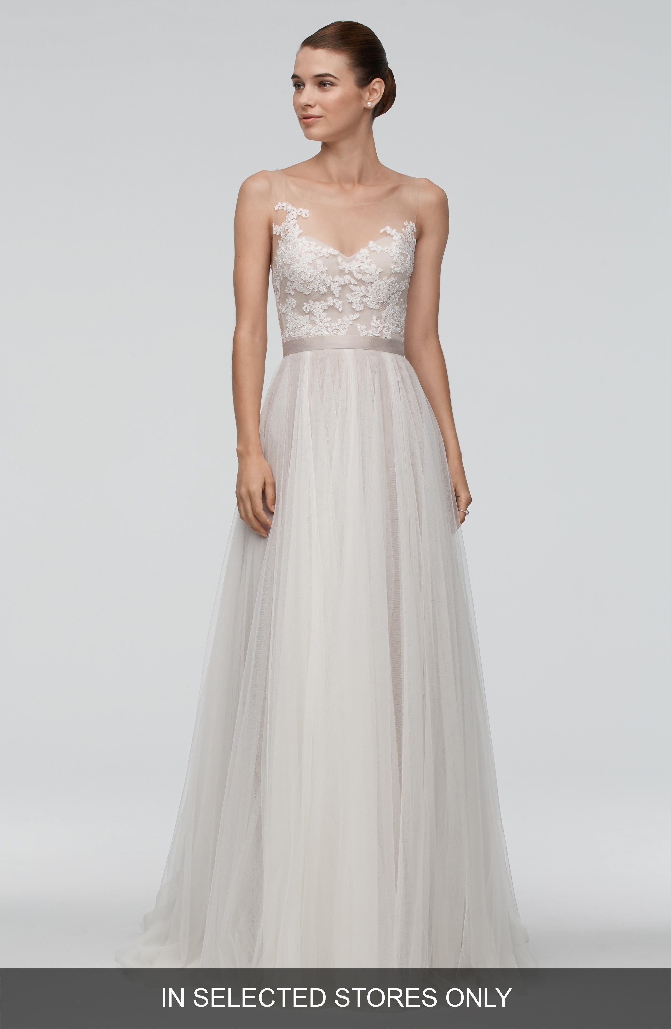 Azriel Illusion Neckline Lace & Net A-Line Gown,                         Main,                         color, Ivory/Latte/Mocha
