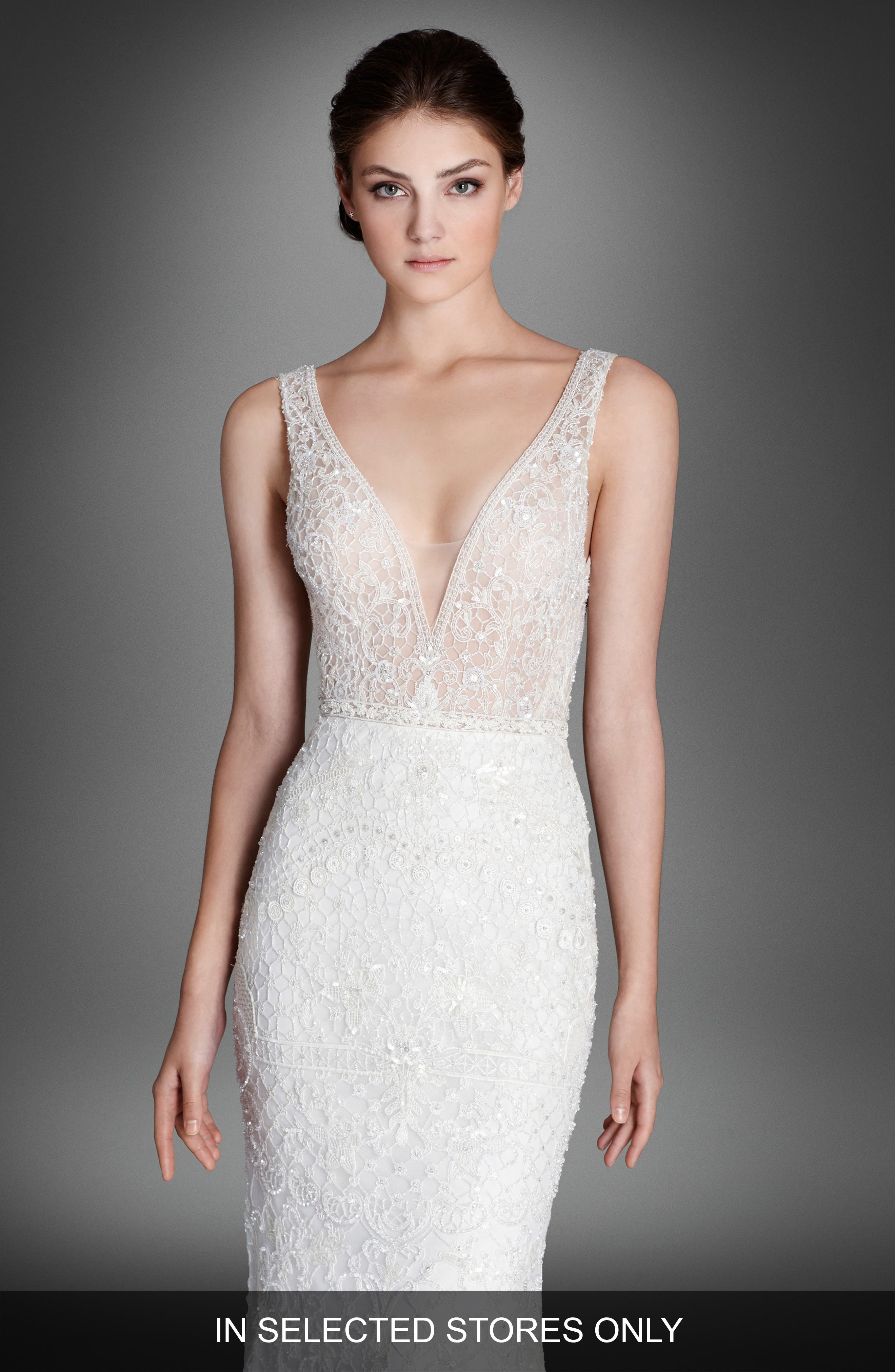 Crystal Beaded Column Dress,                         Main,                         color, Ivory/Cashmere