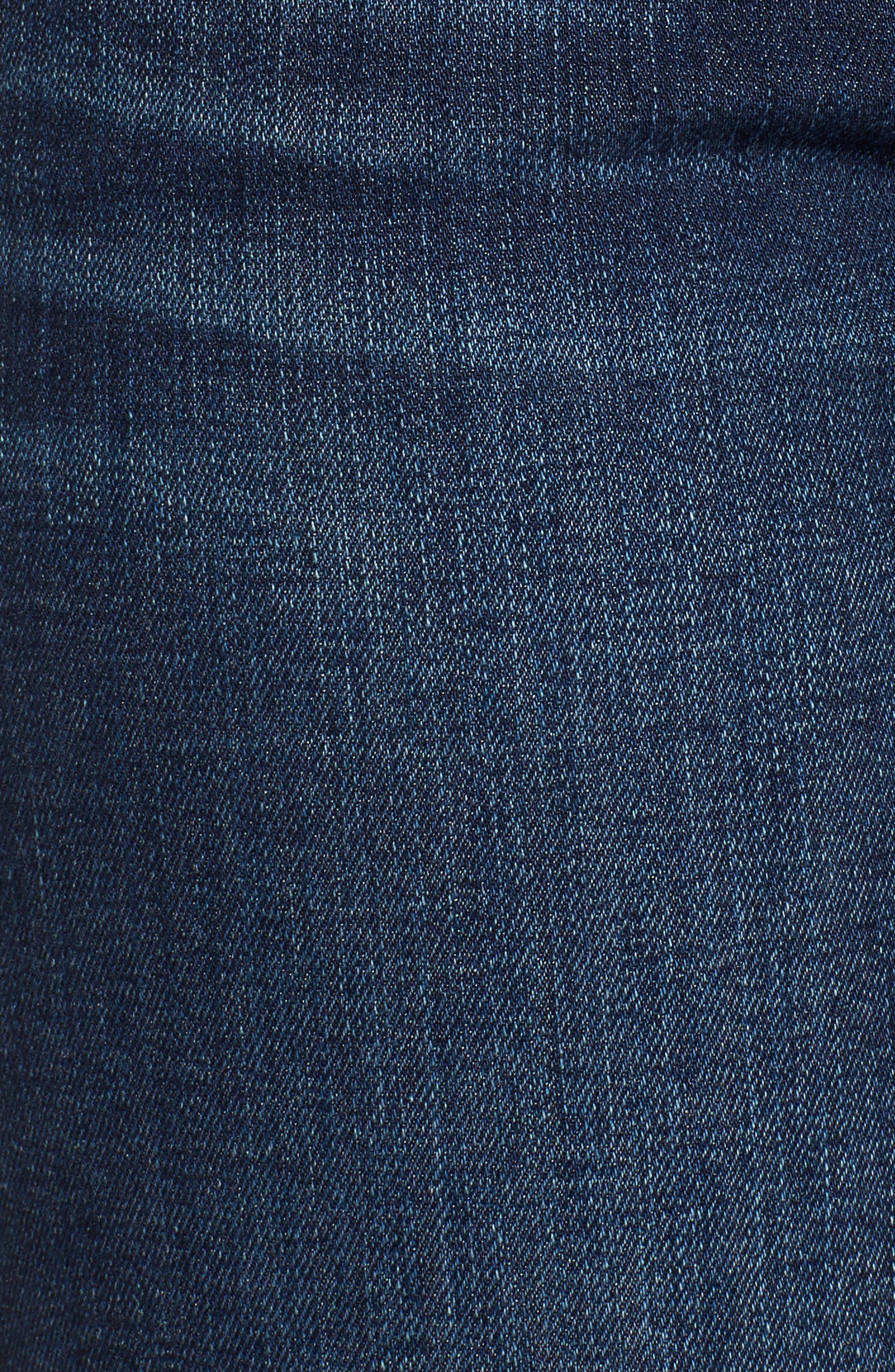 Release Hem Stretch Ankle Skinny Jeans,                             Alternate thumbnail 5, color,                             Prague Deep Blue