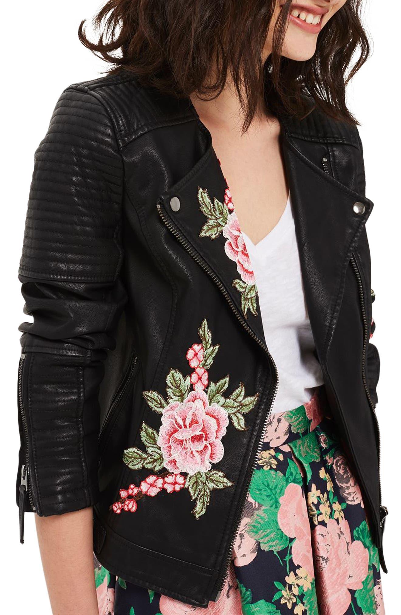 Alternate Image 3  - Topshop Luna Floral Patch Faux Leather Biker Jacket