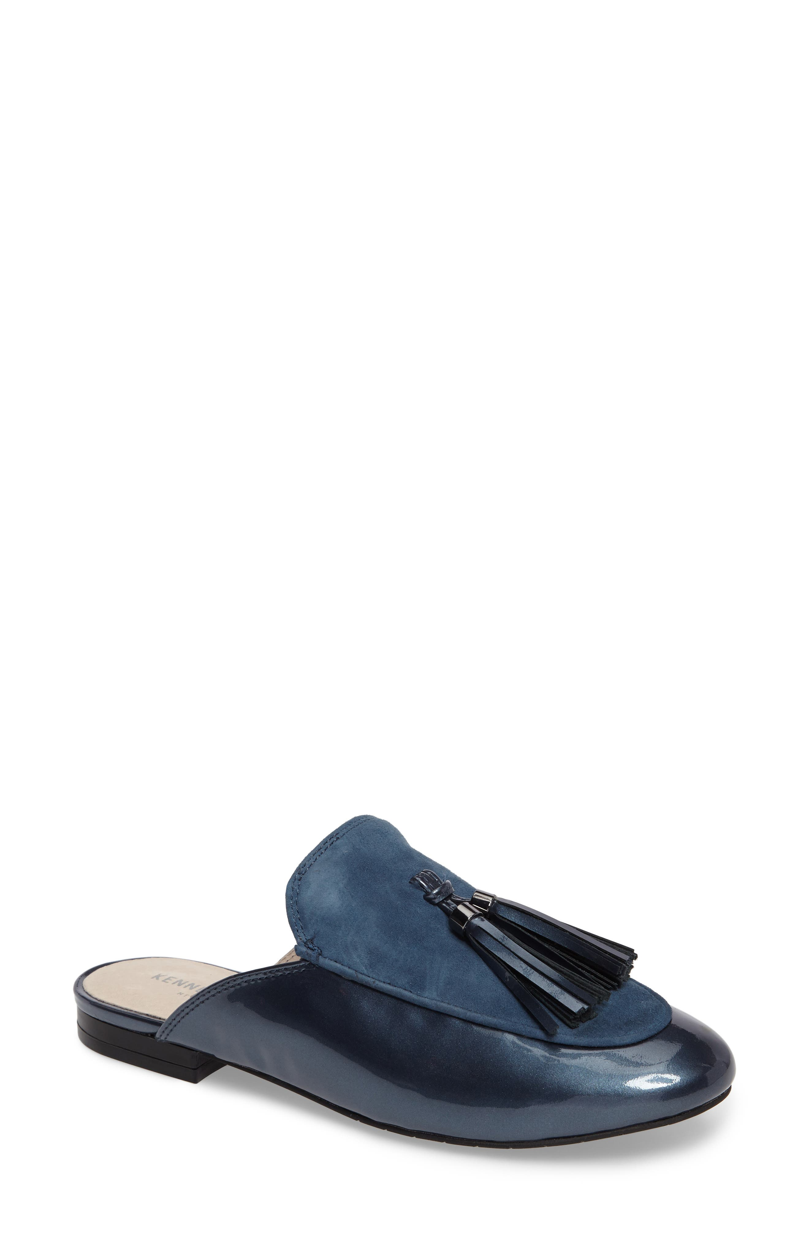Whinnie Loafer Mule,                             Main thumbnail 1, color,                             Indigo Patent Leather