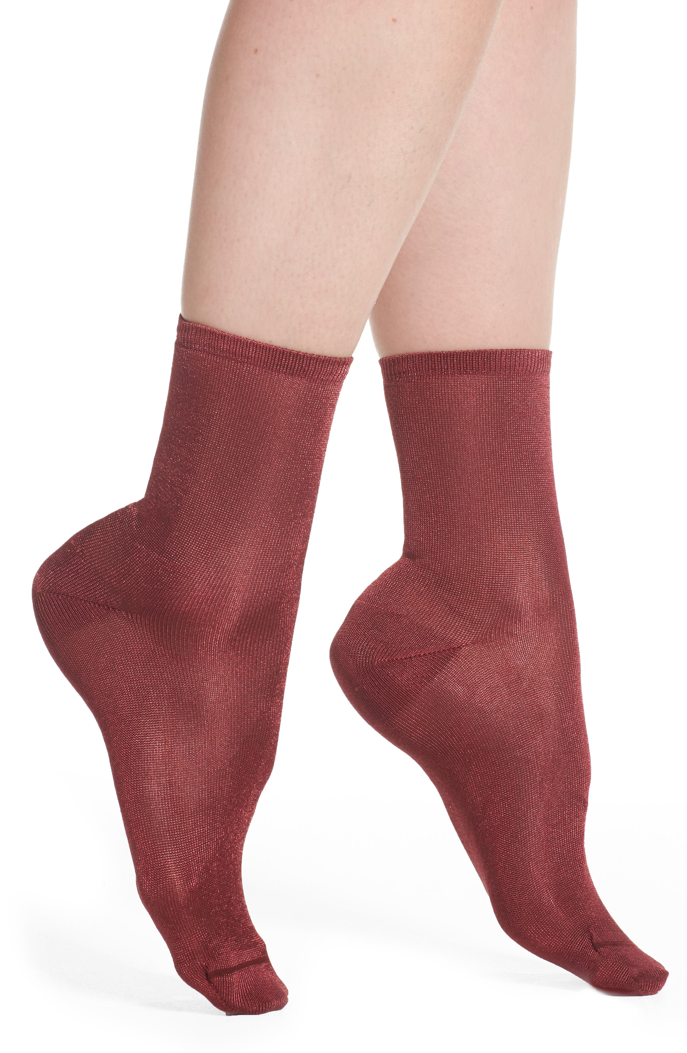 Sweetly Sheer Ankle Socks,                             Main thumbnail 1, color,                             Red Cordovan