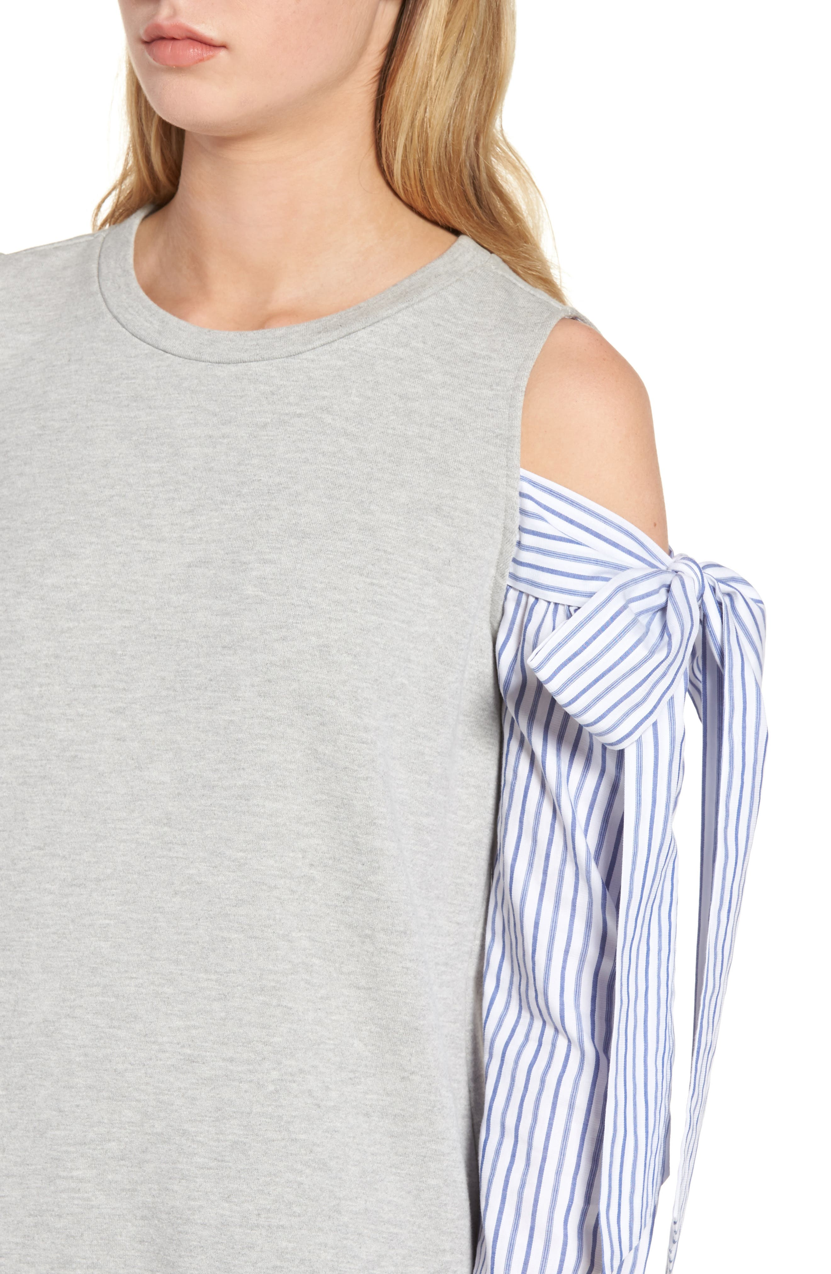 Cold Shoulder Sweatshirt,                             Alternate thumbnail 2, color,                             Grey Heather