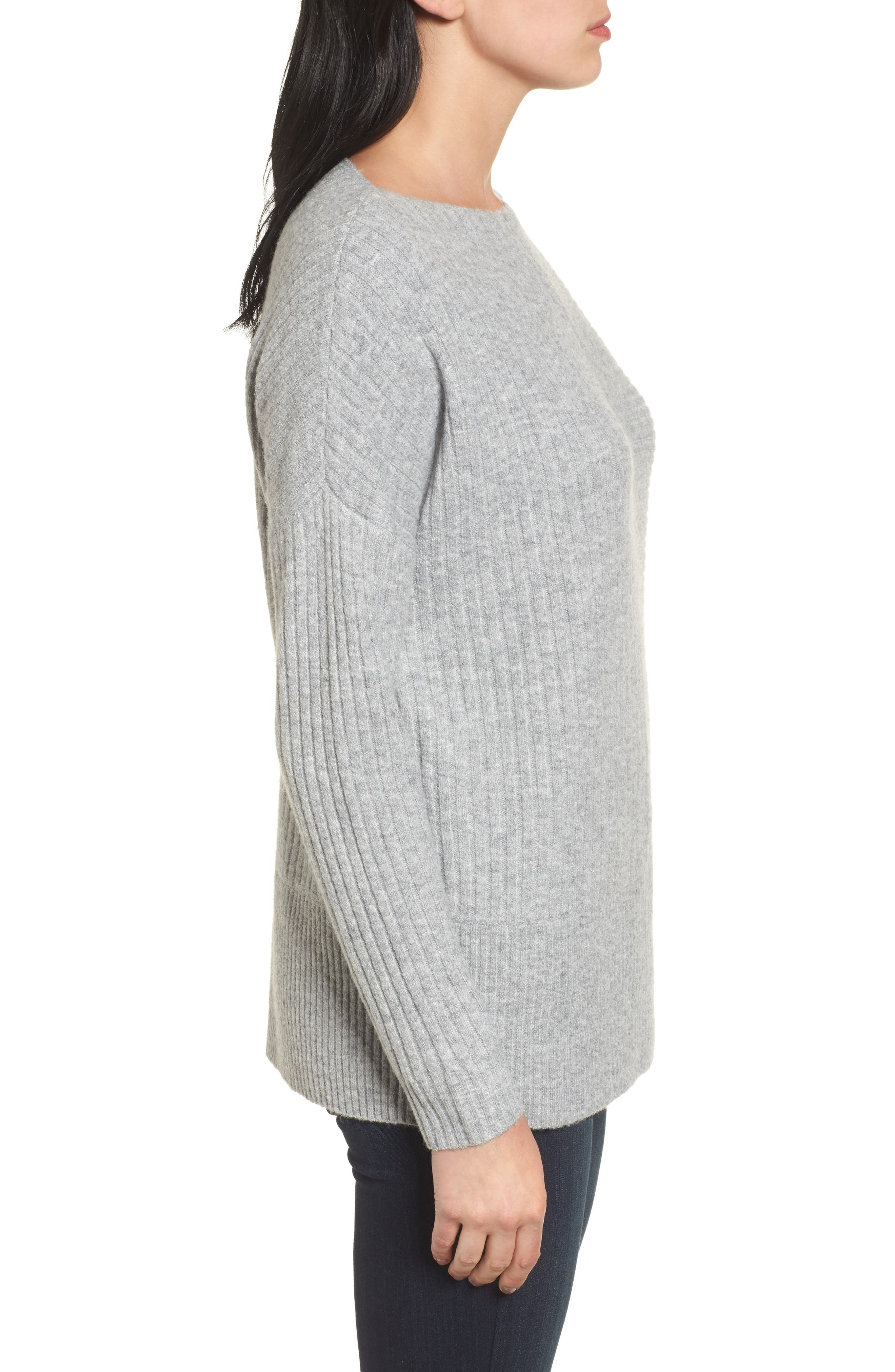 Multi Ribbed Fleece Knit Sweater,                             Alternate thumbnail 3, color,                             Heather Grey