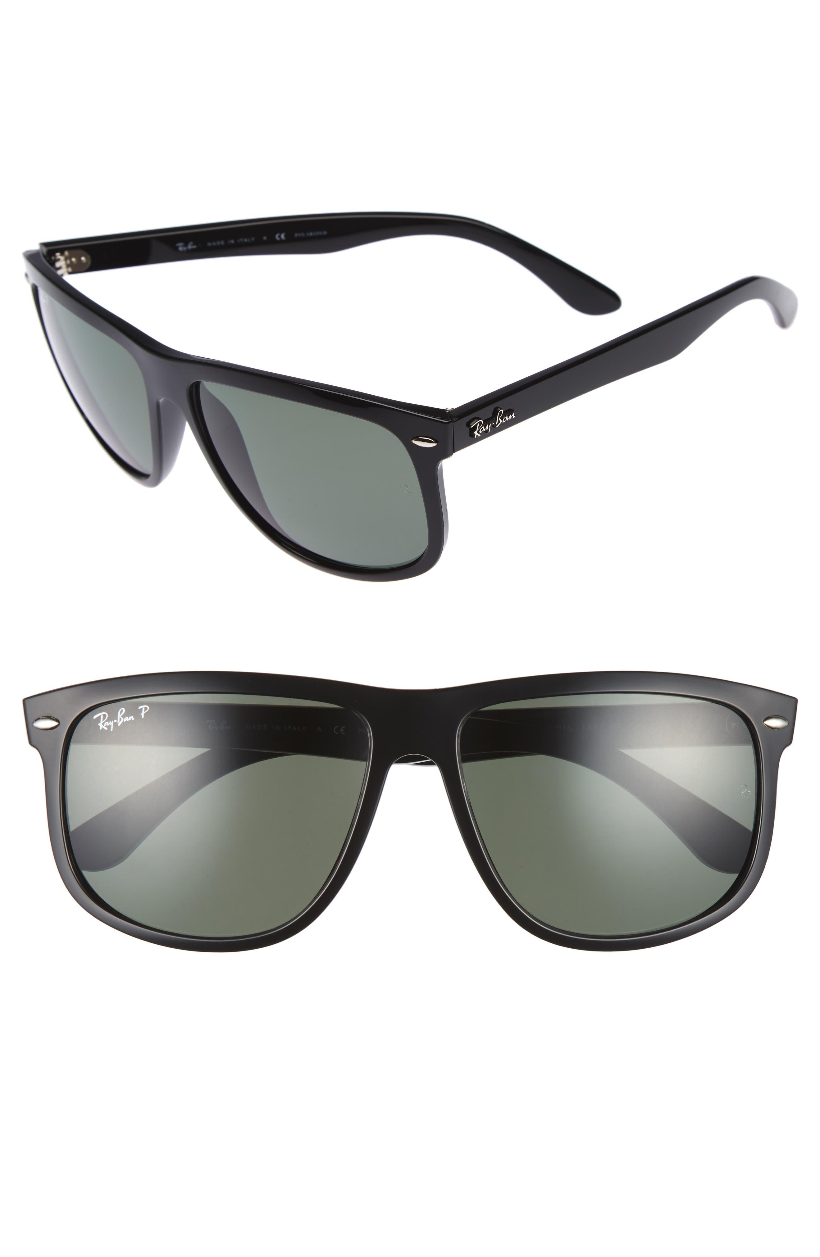 'Boyfriend' 60mm Polarized Sunglasses,                         Main,                         color, Black/ Green P