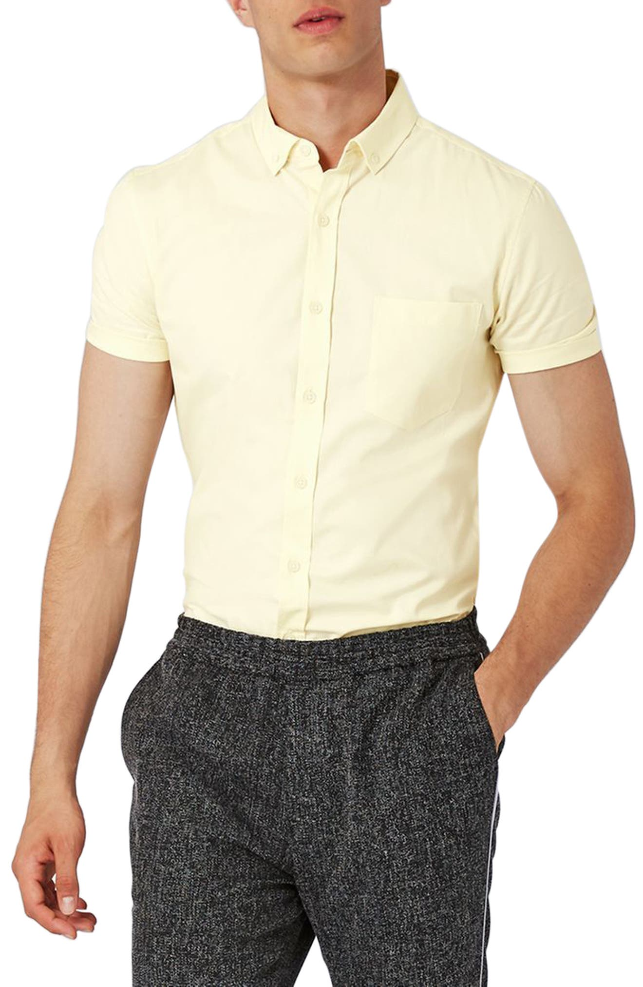 Slim Fit Stretch Oxford Shirt,                         Main,                         color, Yellow