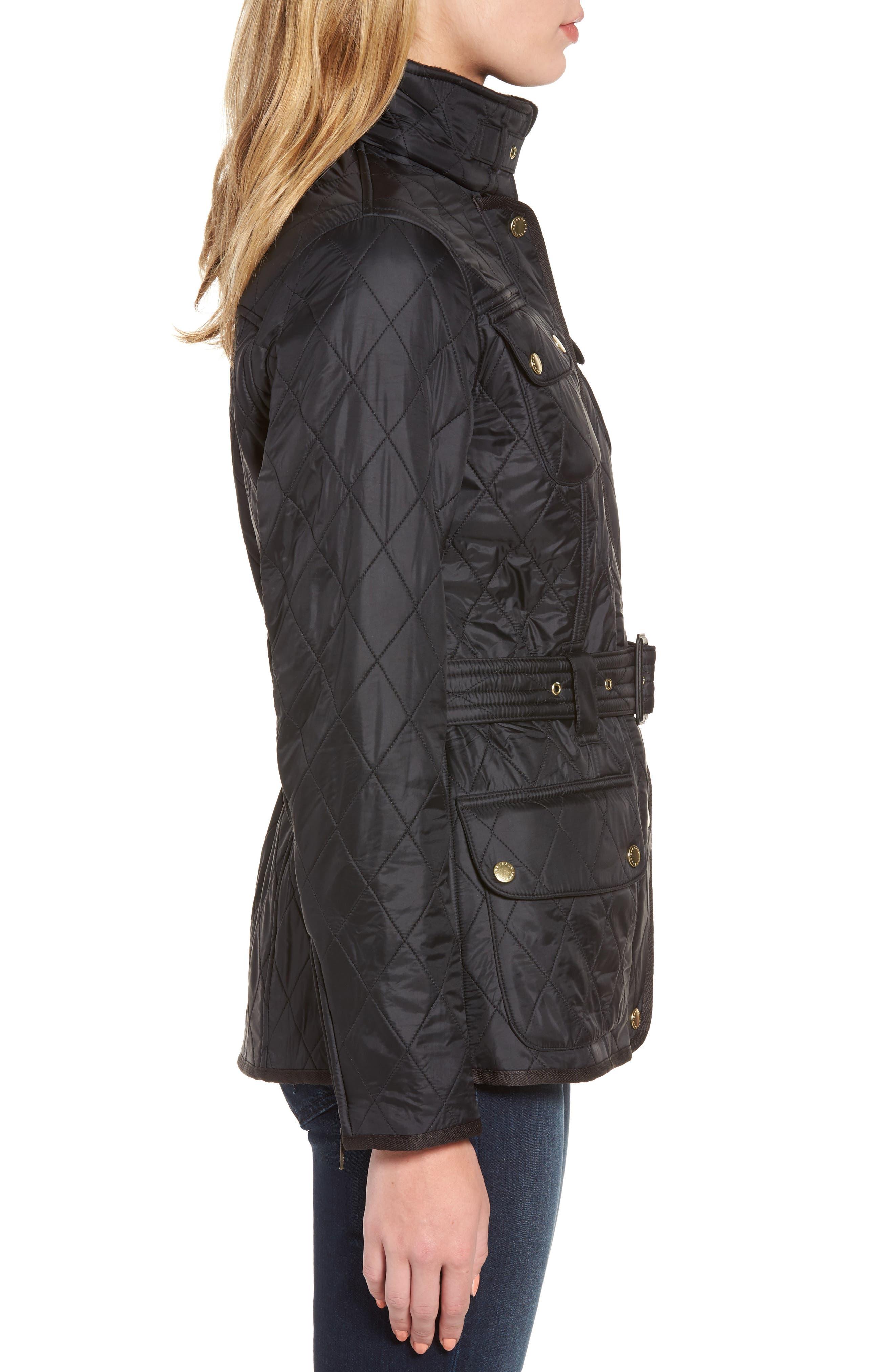Water Resistant Polarquilt Moto Jacket,                             Alternate thumbnail 3, color,                             Black / Black