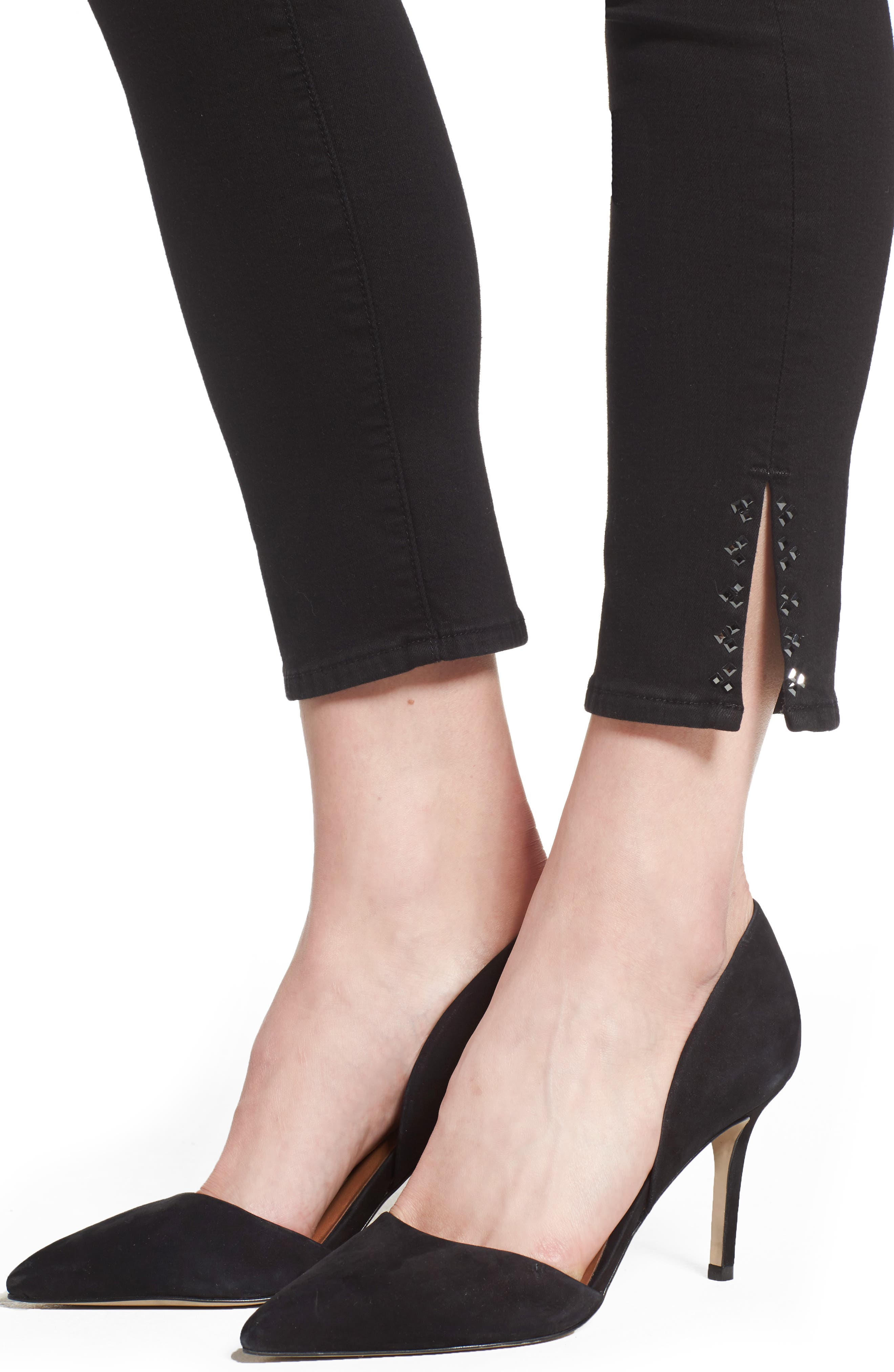 Embellished Side Slit Skinny Ankle Jeans,                             Alternate thumbnail 4, color,                             Riche Touch Black Noir