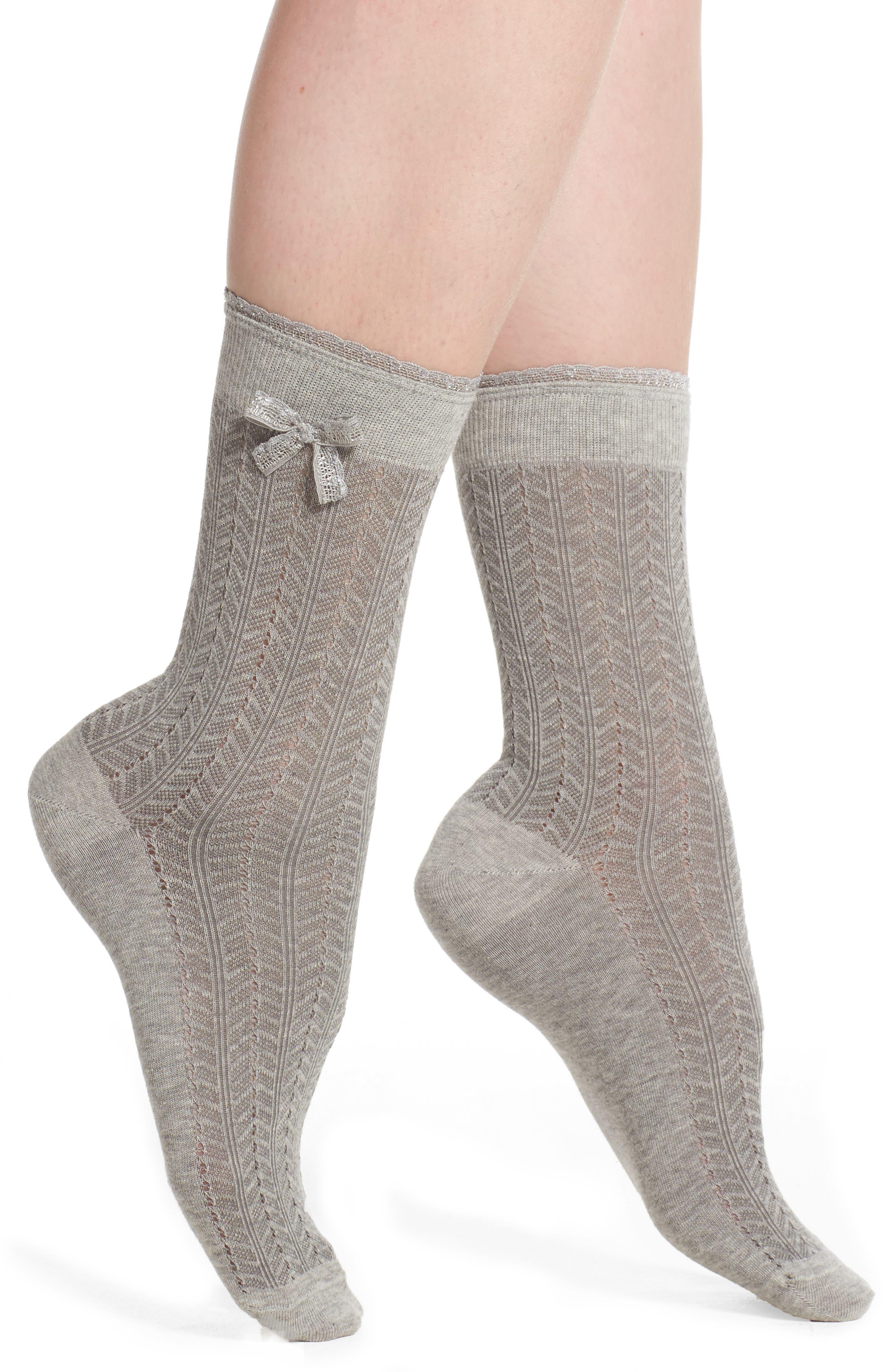 Bow Pointelle Crew Socks,                         Main,                         color, Grey