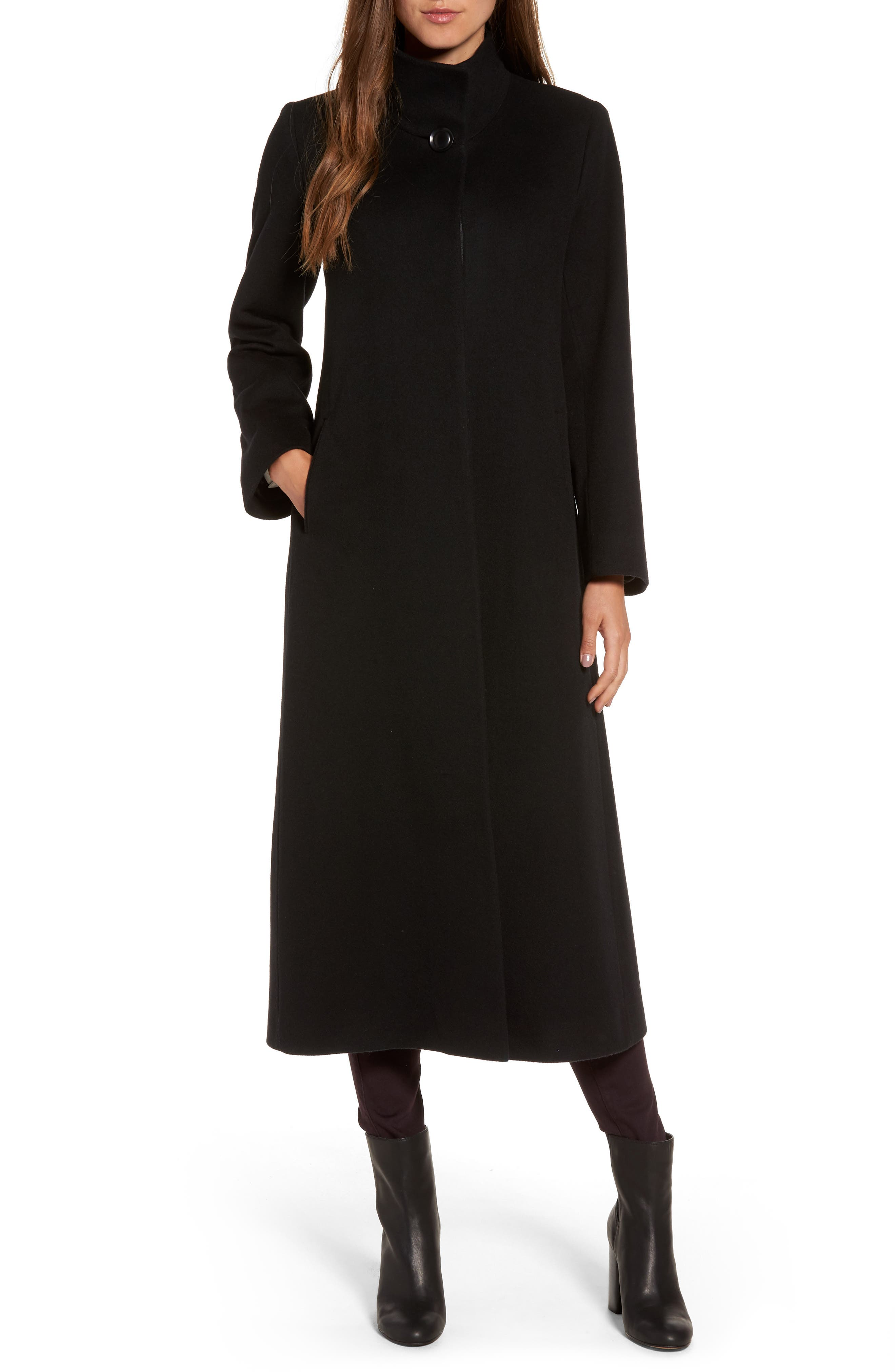 Cashmere Long Coat,                             Main thumbnail 1, color,                             Black