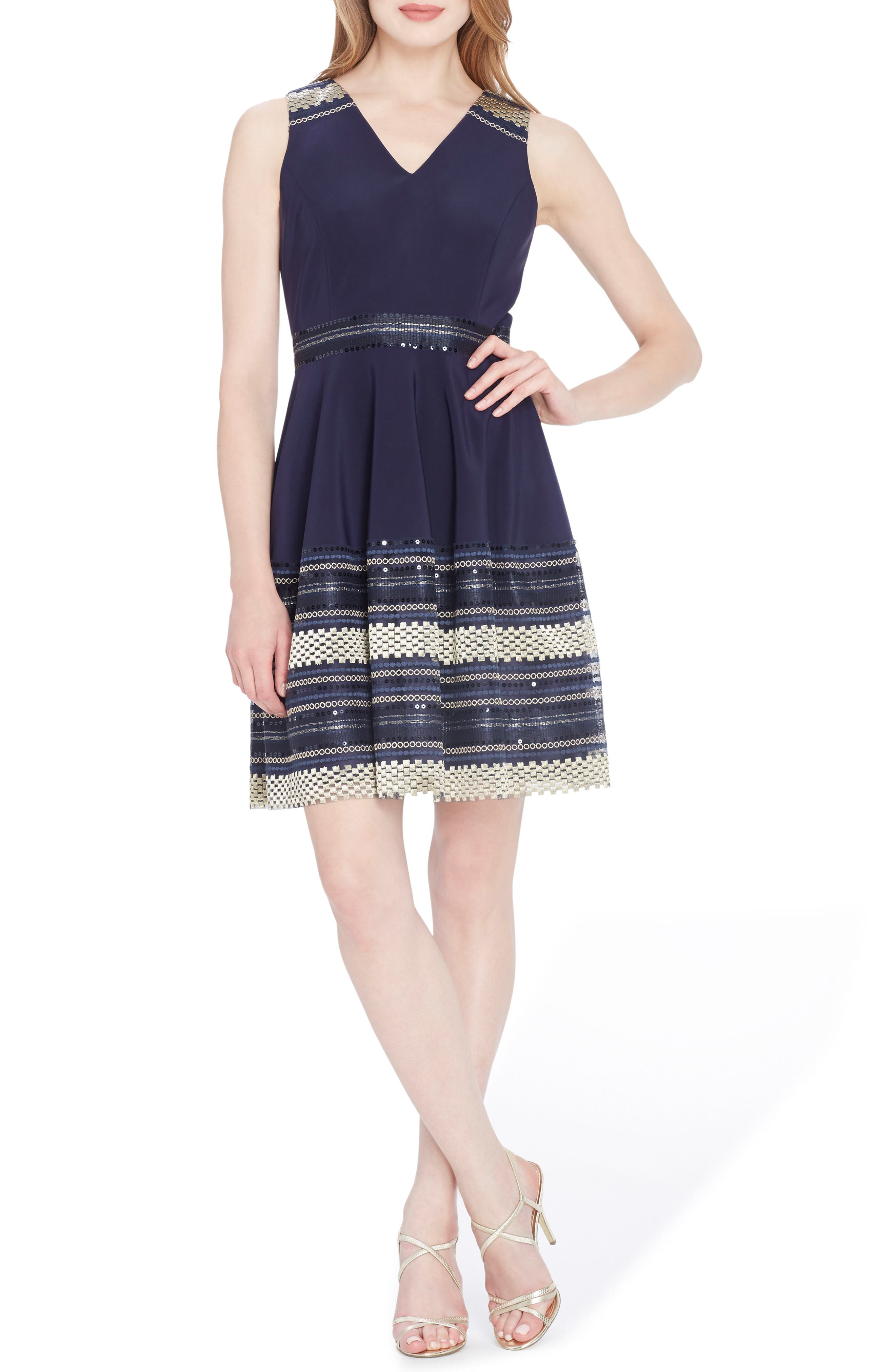 Embroidered Fit & Flare Dress,                         Main,                         color, Navy/ Gold