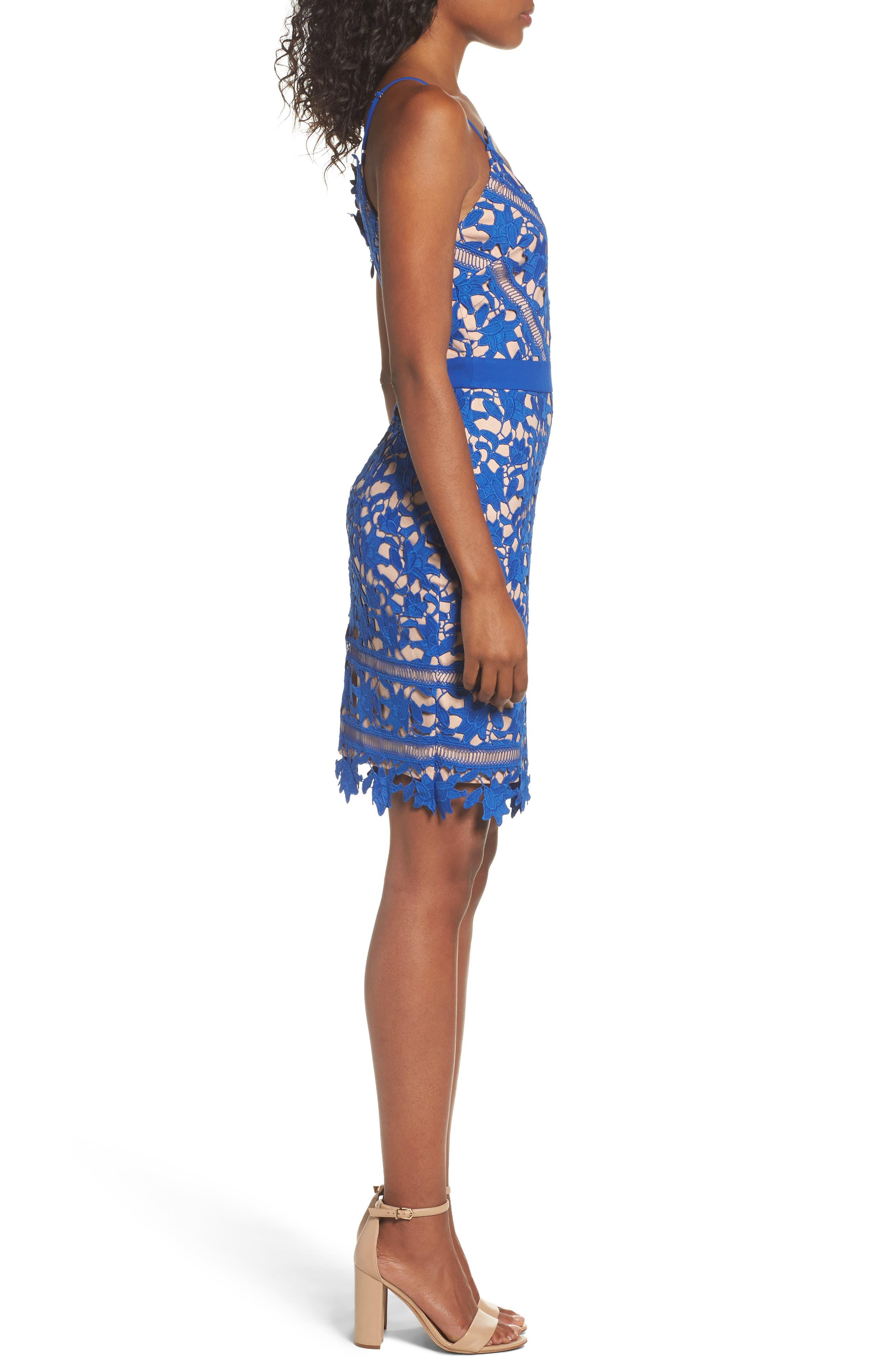 Whitney Lace Sheath Dress,                             Alternate thumbnail 4, color,                             Blue