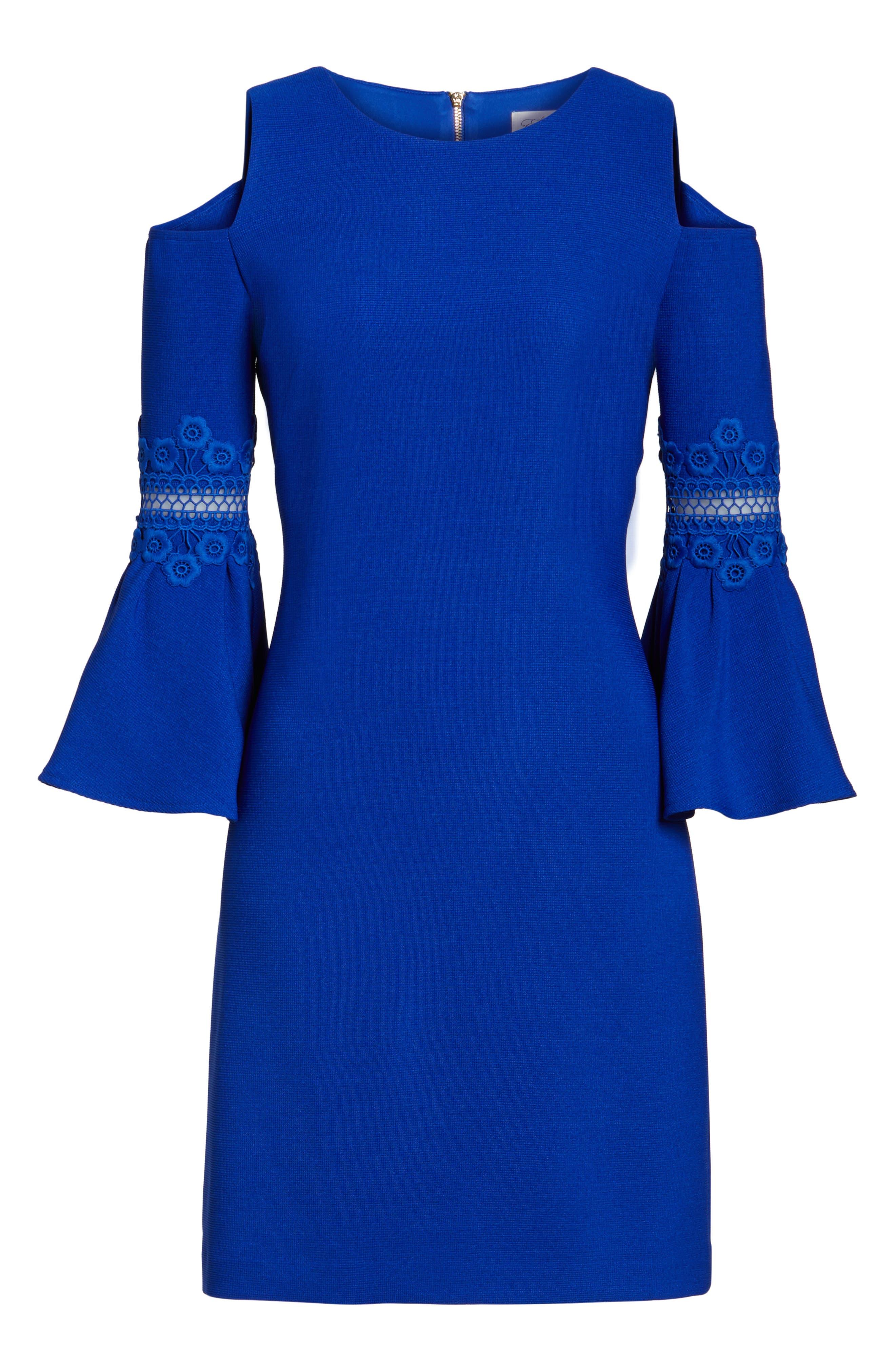Alternate Image 6  - Eliza J Lace Appliqué Crepe Cold Shoulder Dress (Regular & Petite)