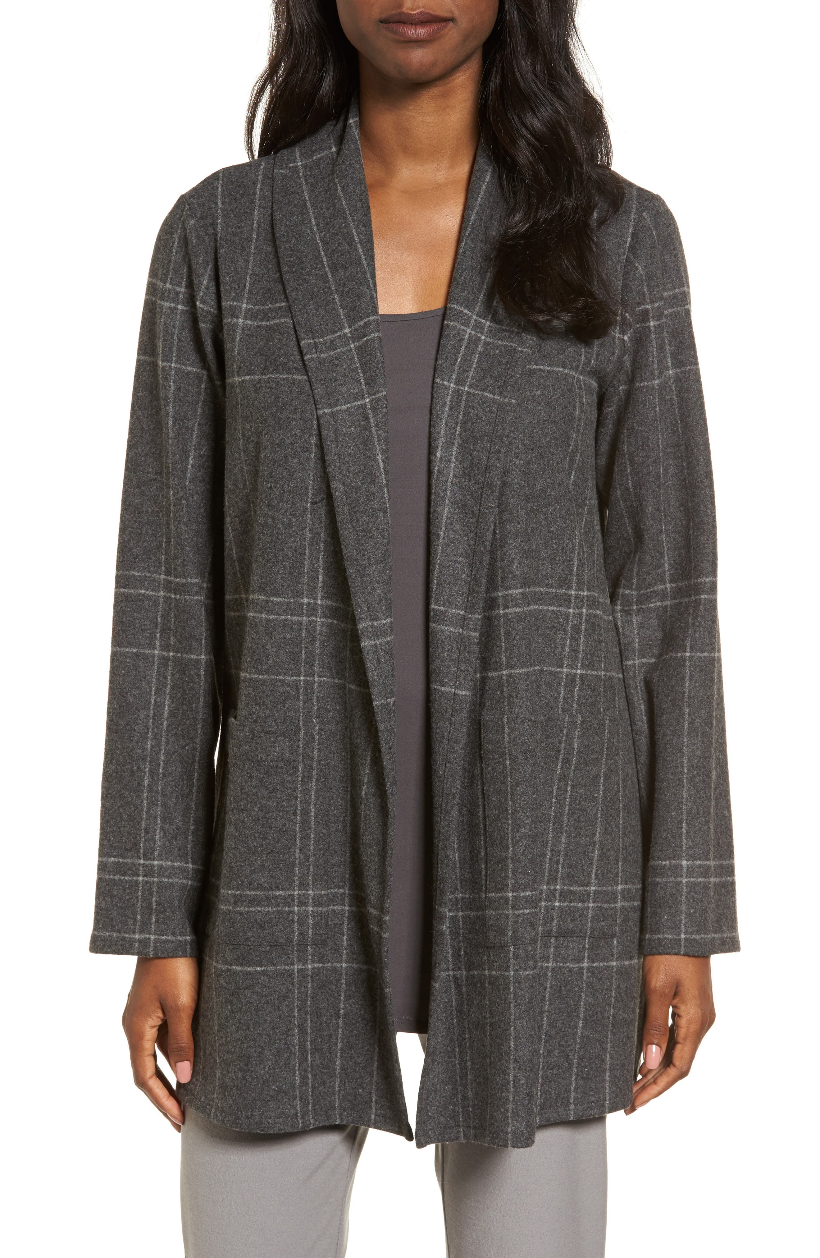 Plaid Kimono Jacket,                         Main,                         color, Dark Ash