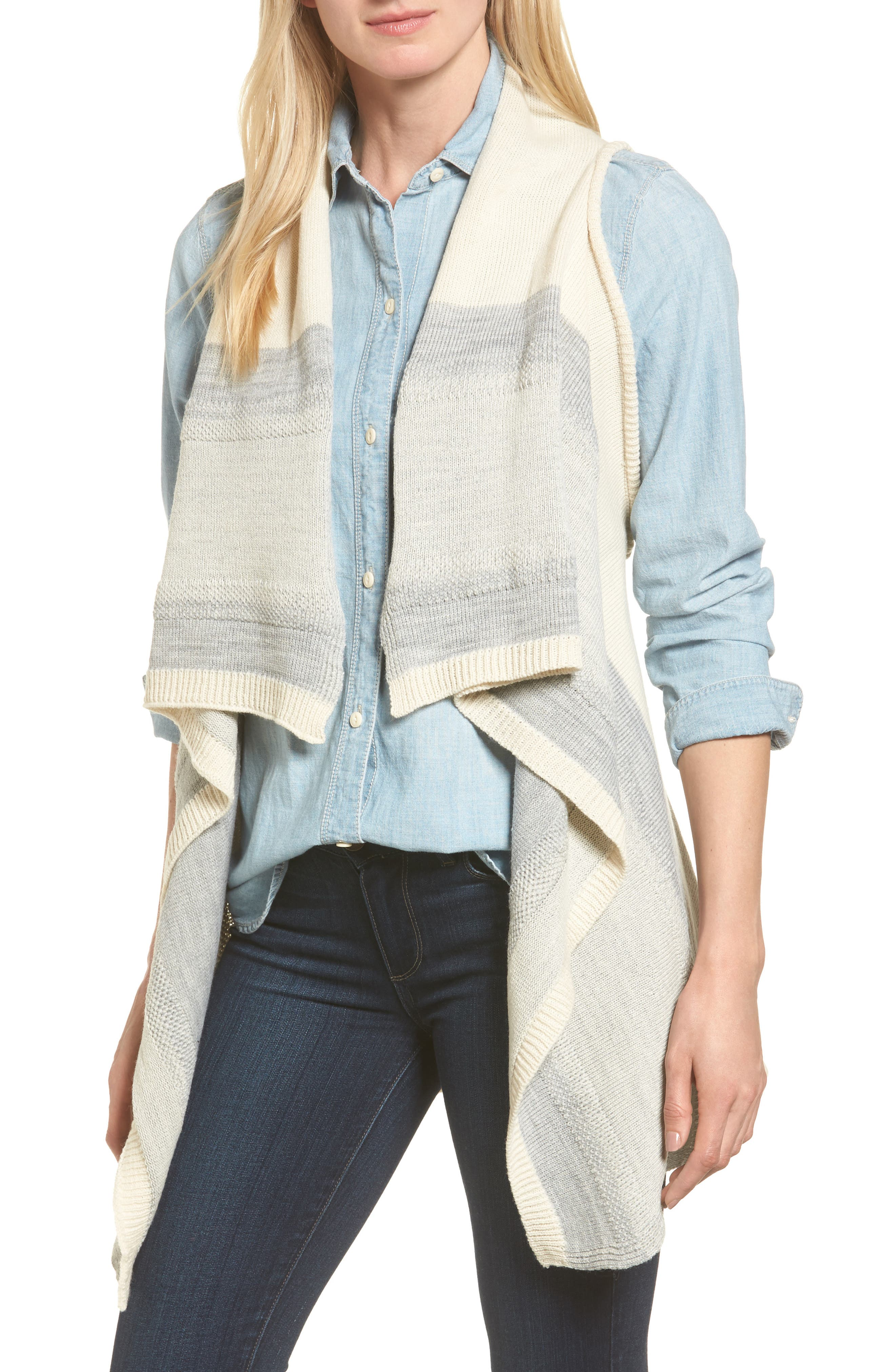 Faded Stripes Knit Vest,                         Main,                         color, Off White