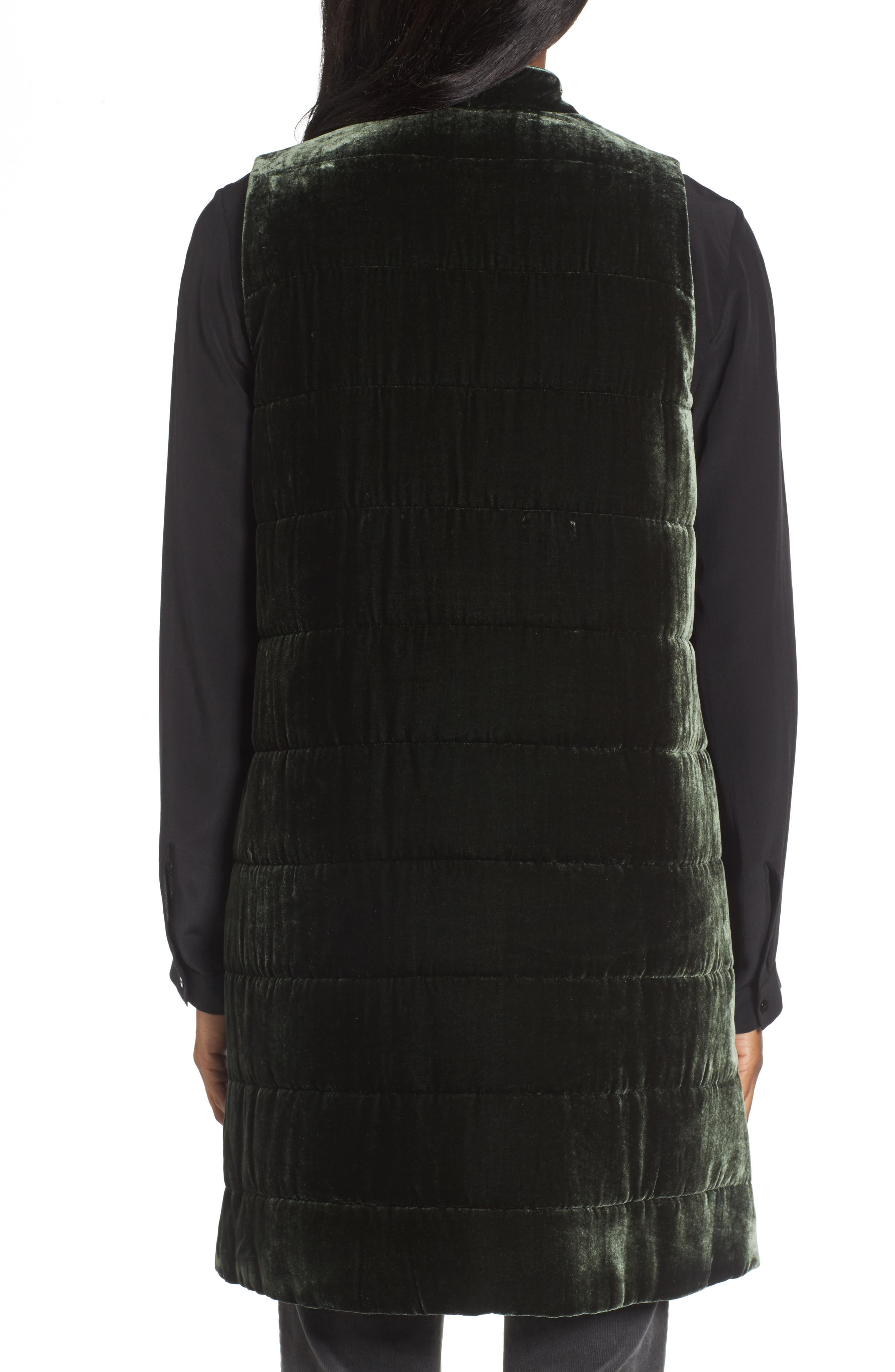 Alternate Image 2  - Eileen Fisher Long Quilted Velvet Vest