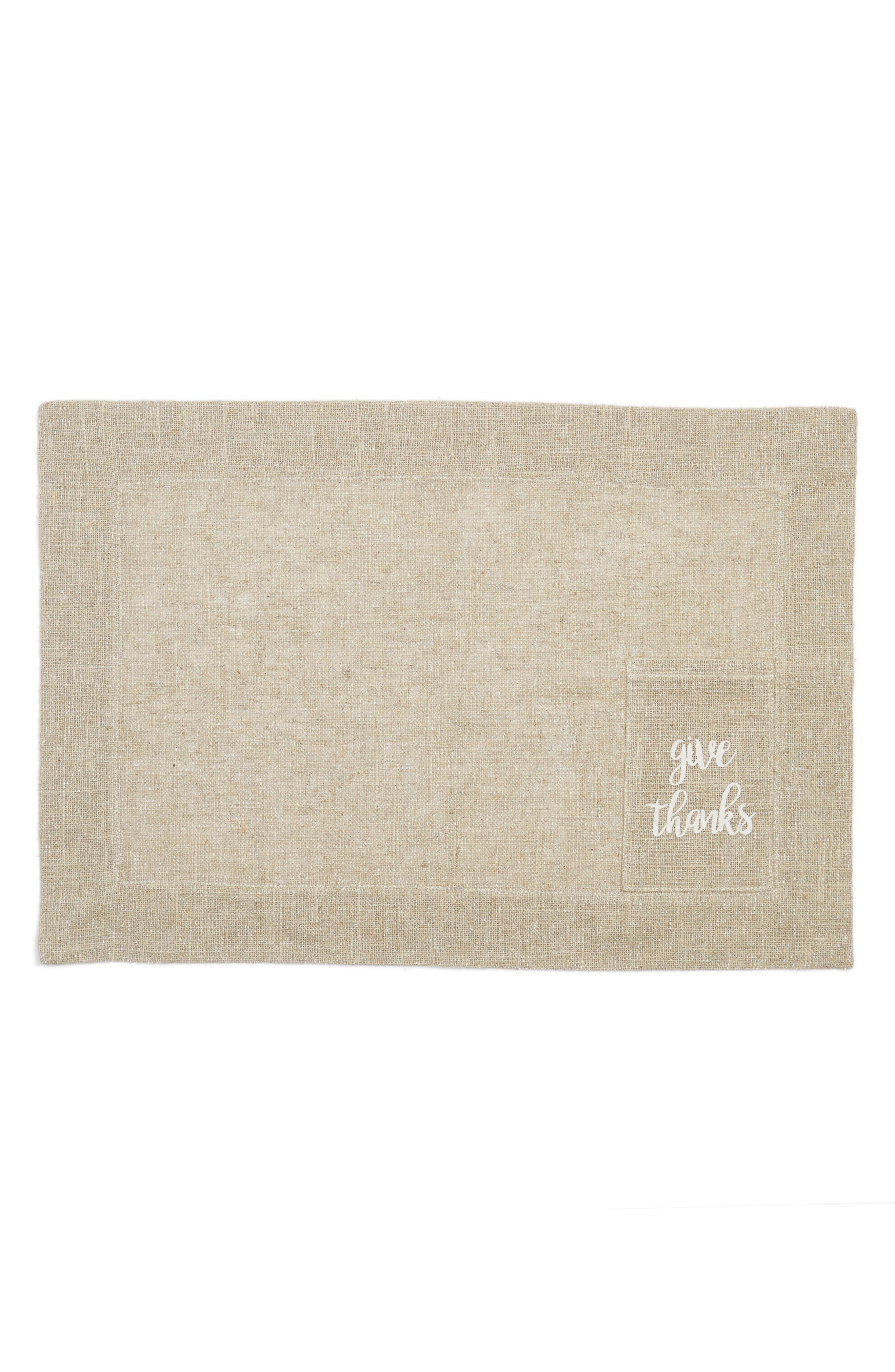 Give Thanks Placemat,                         Main,                         color, Natural