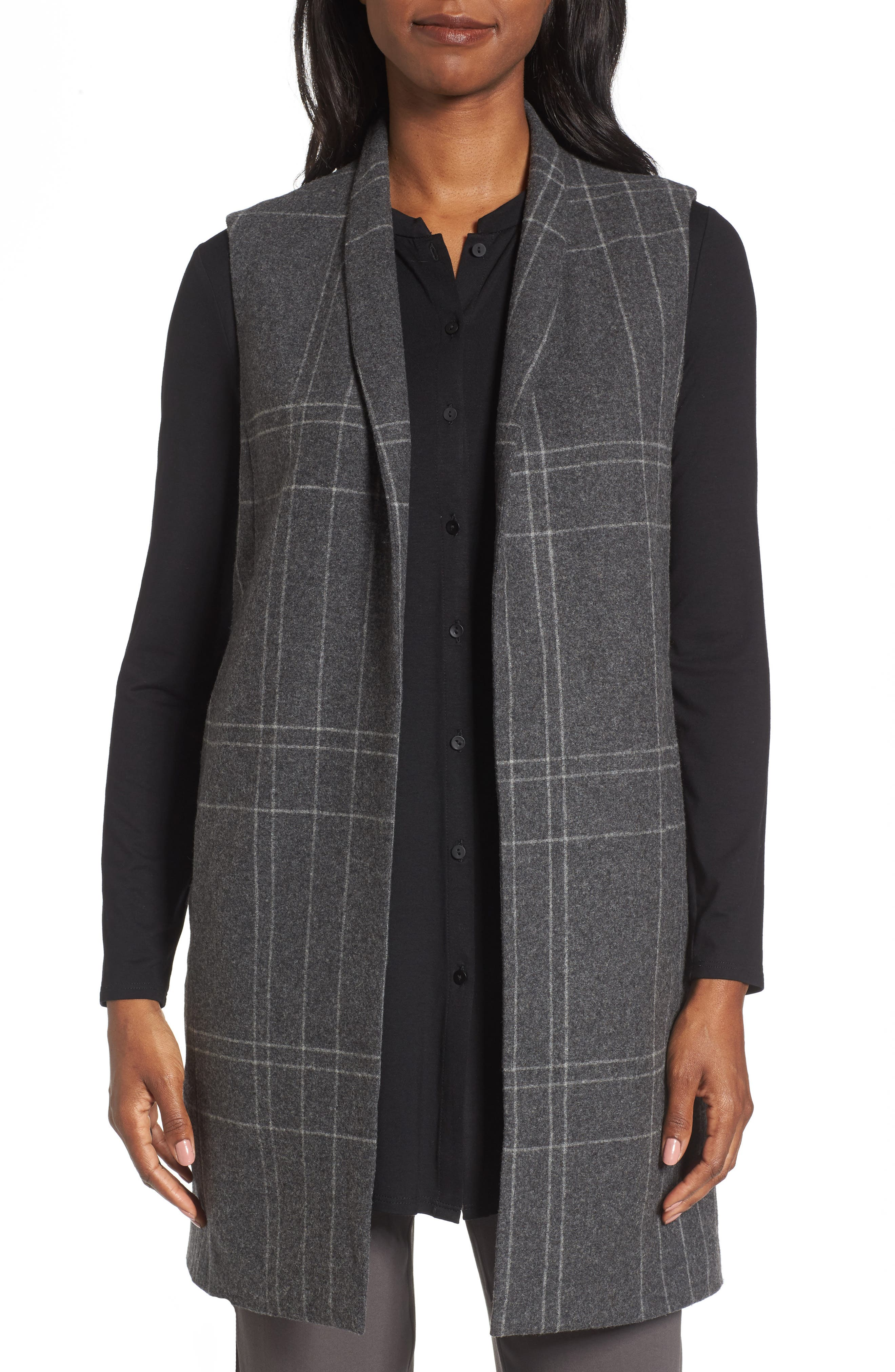 Alternate Image 1 Selected - Eileen Fisher Long Plaid Vest