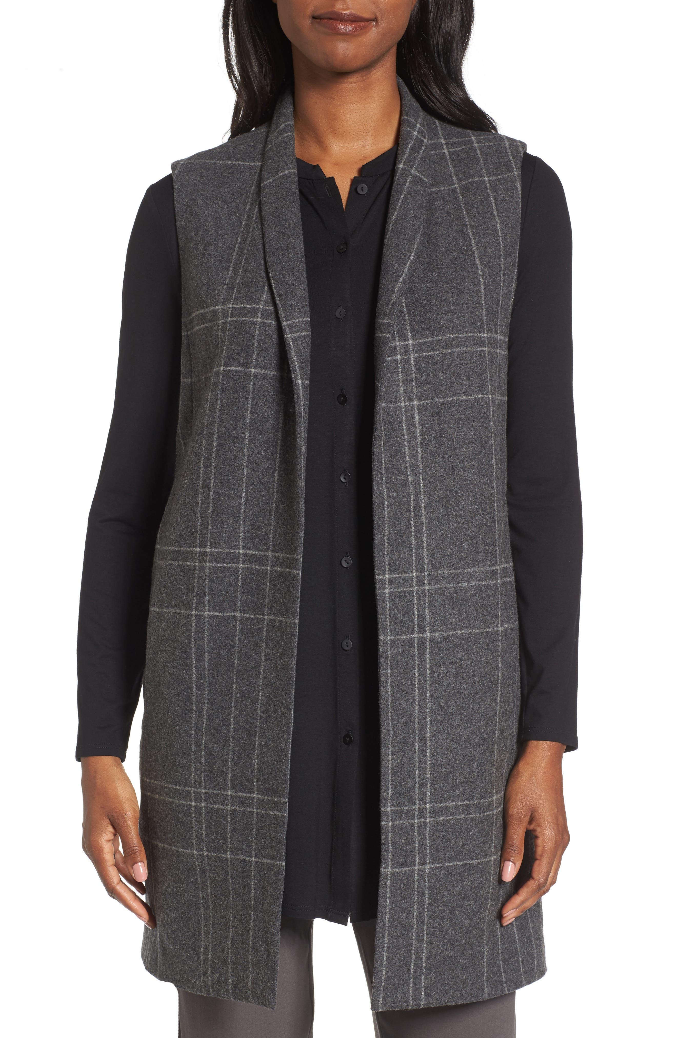 Main Image - Eileen Fisher Long Plaid Vest