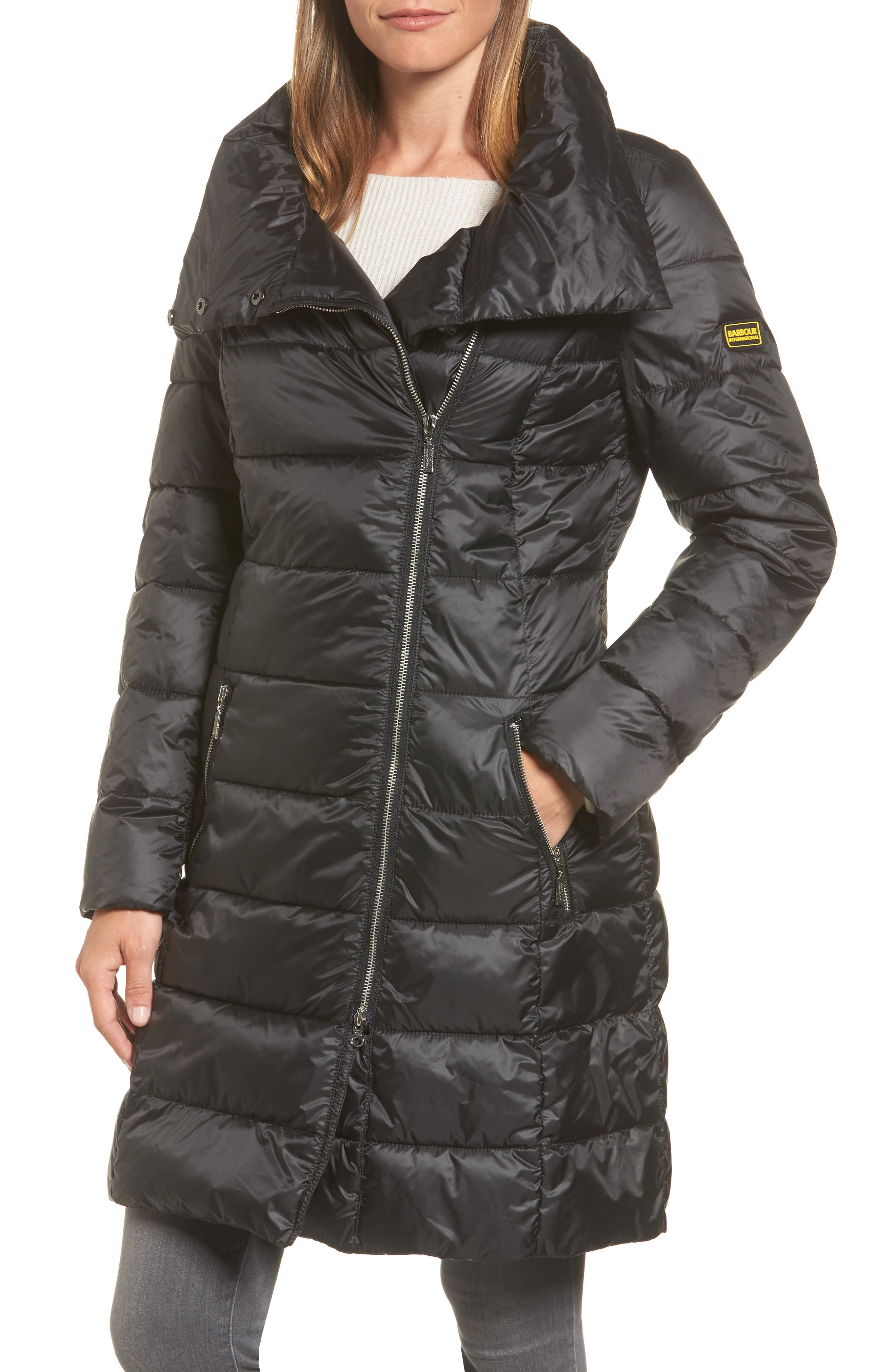 Water Resistant Baffle Quilted Jacket,                         Main,                         color, Black