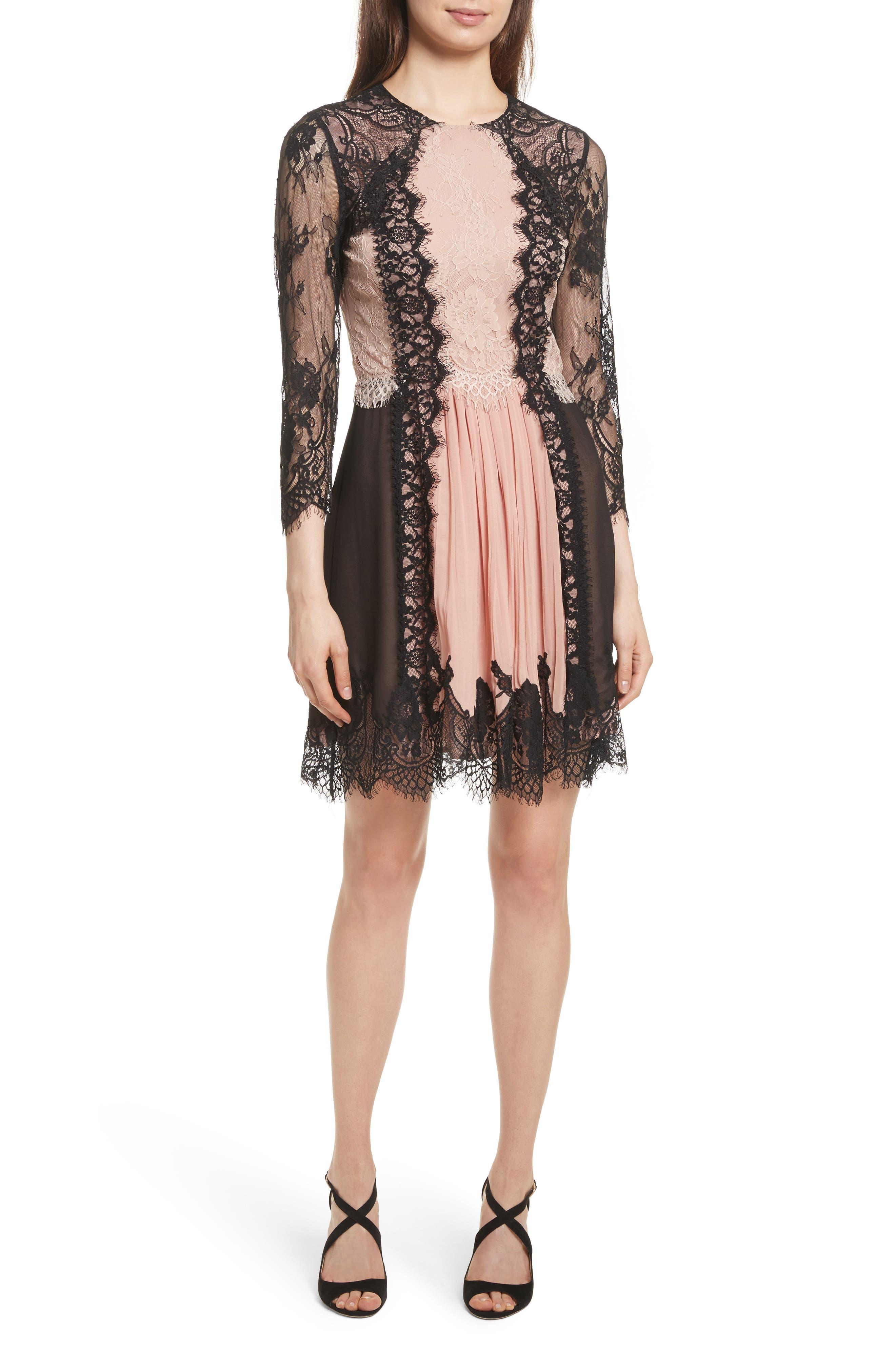 Kaylen Mixed Lace Dress,                         Main,                         color, Black Rose Tan