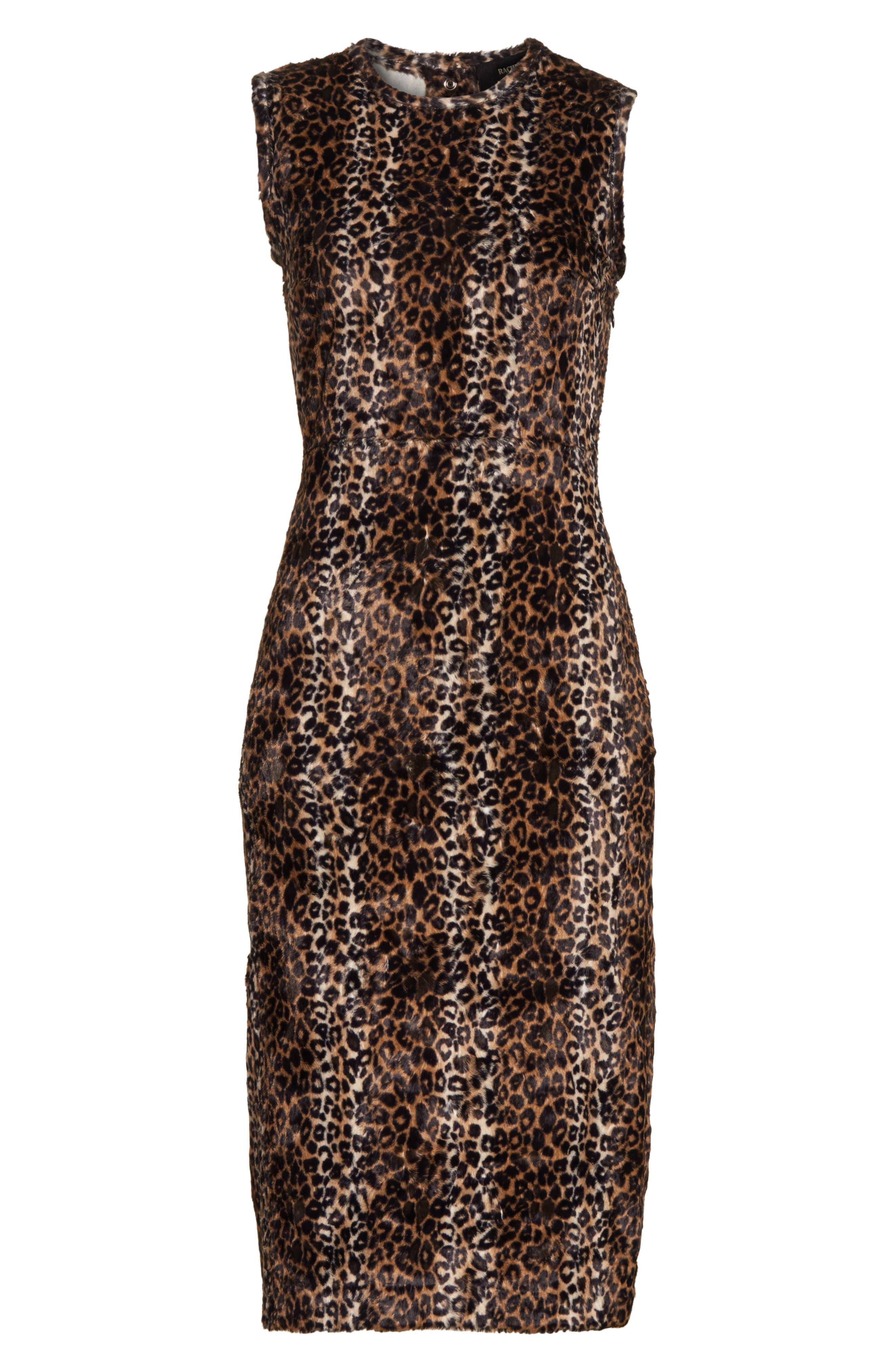 Alternate Image 6  - Rachel Comey Sling Cheetah Faux Fur Sheath Dress