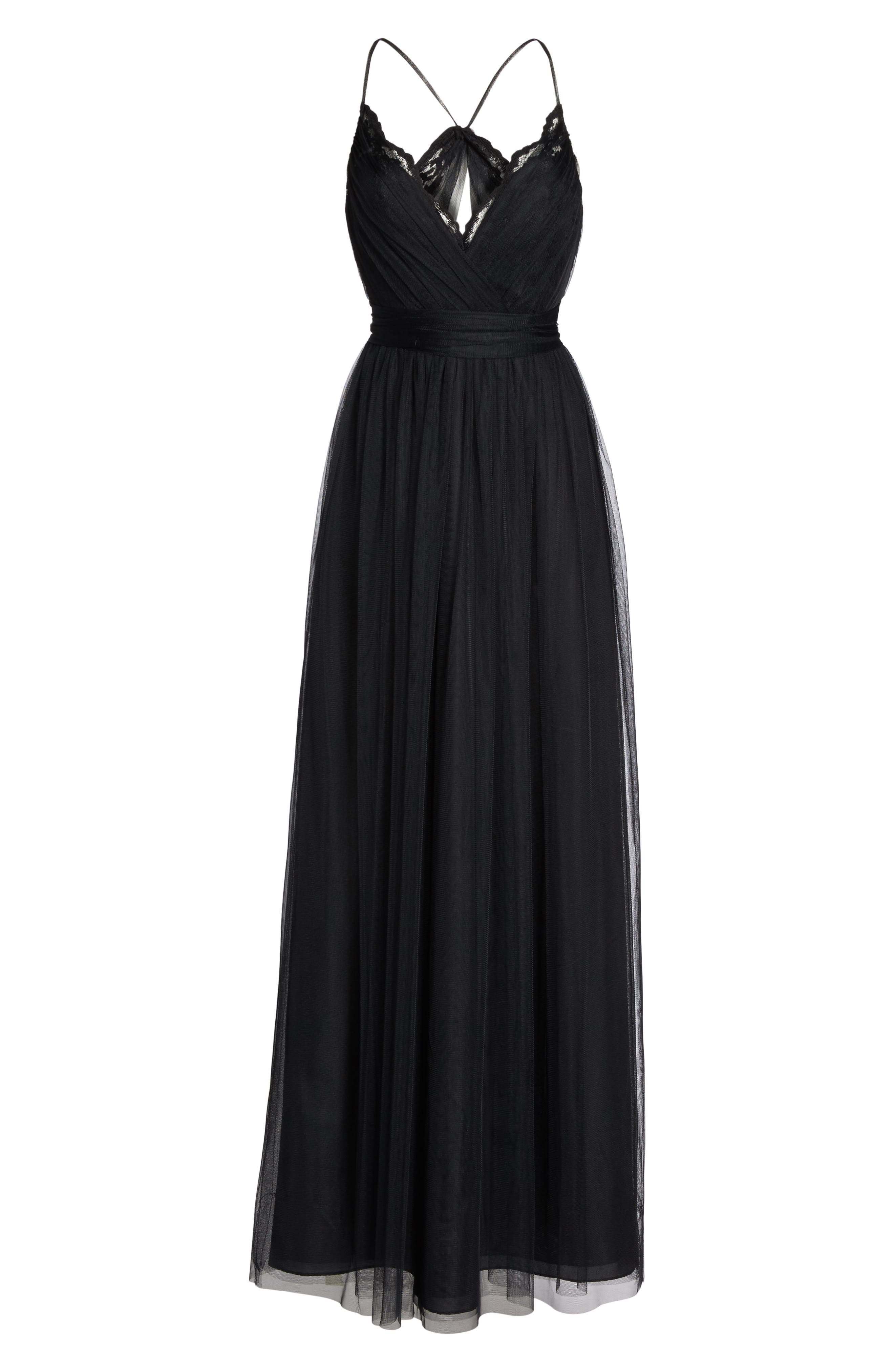 Aria Lace & Tulle Gown,                             Alternate thumbnail 6, color,                             Black
