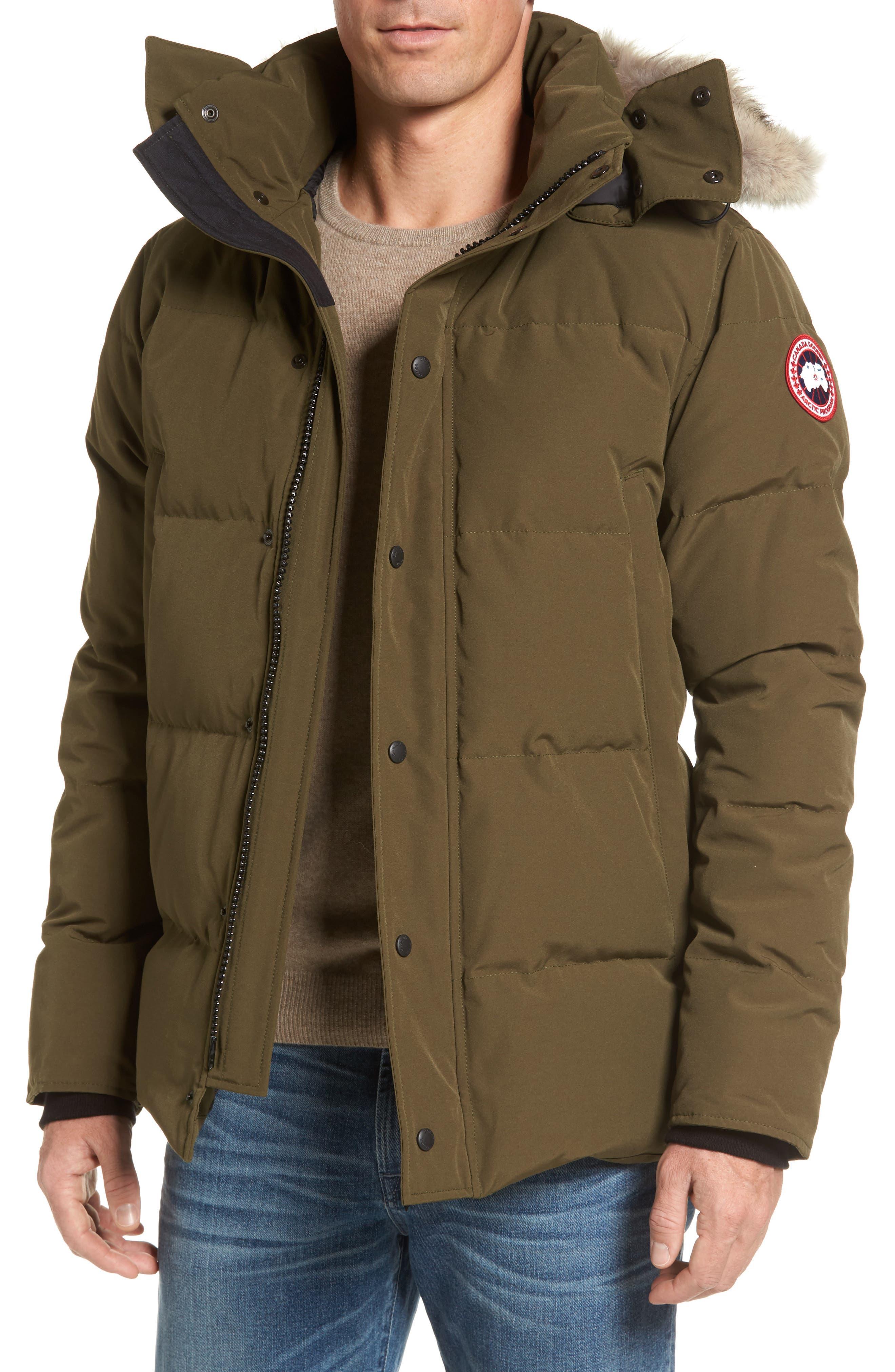 Wyndham Slim Fit Genuine Coyote Fur Trim Down Jacket,                         Main,                         color, Military Green
